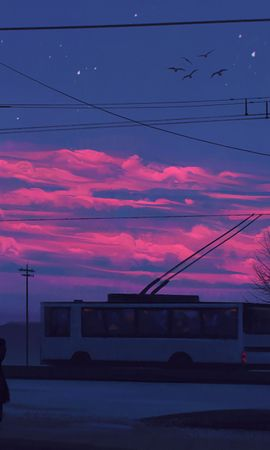 91326 download wallpaper Silhouette, Sunset, Transport, Art, City, Street, Clouds screensavers and pictures for free