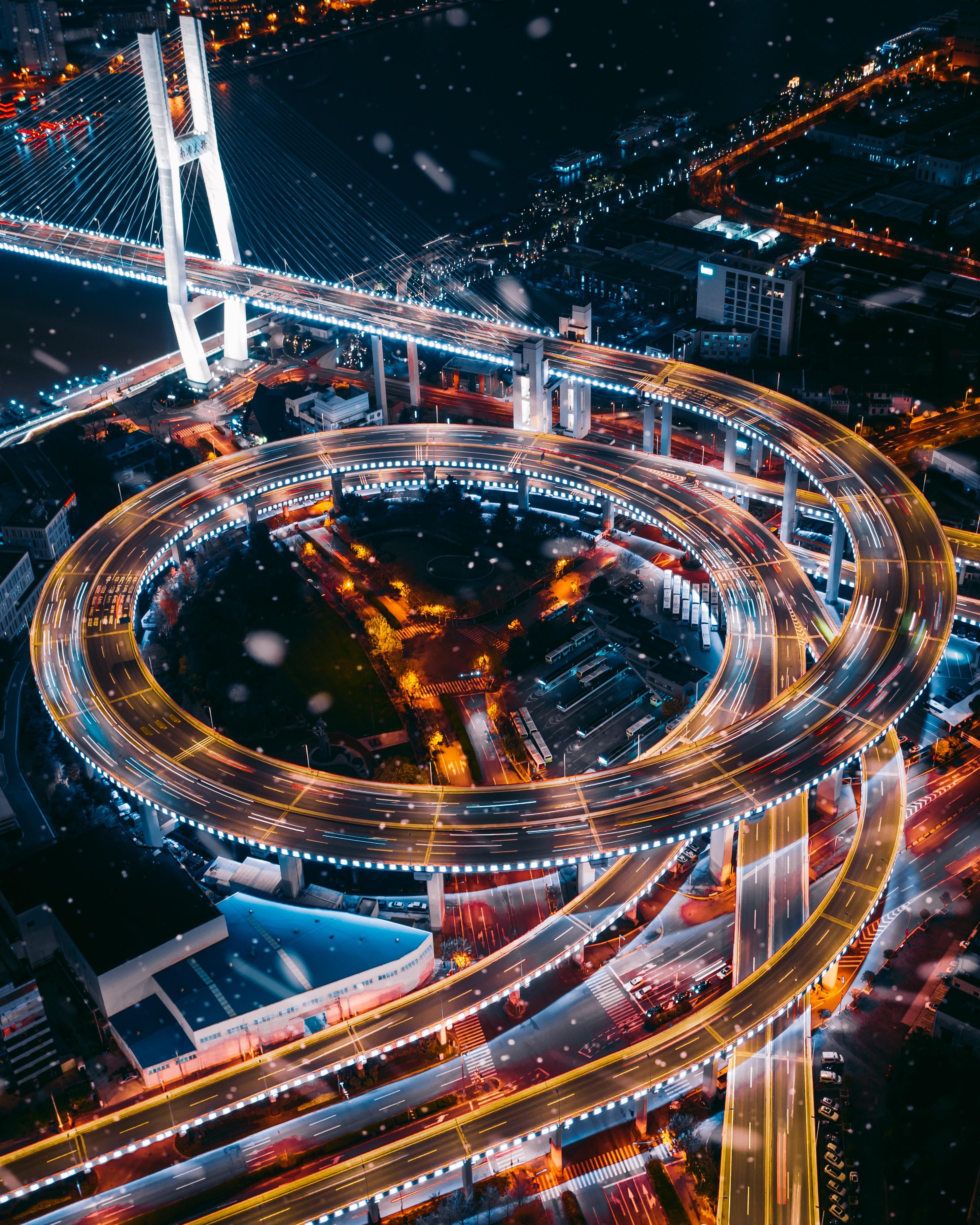 78481 Hintergrundbild herunterladen Städte, Roads, Blick Von Oben, Nächtliche Stadt, Night City, Lichter Der Stadt, City Lights, Verkehrsknotenpunkt, Austausch - Bildschirmschoner und Bilder kostenlos