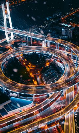 78481 Screensavers and Wallpapers Roads for phone. Download Transport Interchange, Interchange, Night City, View From Above, City Lights, Roads, Cities pictures for free