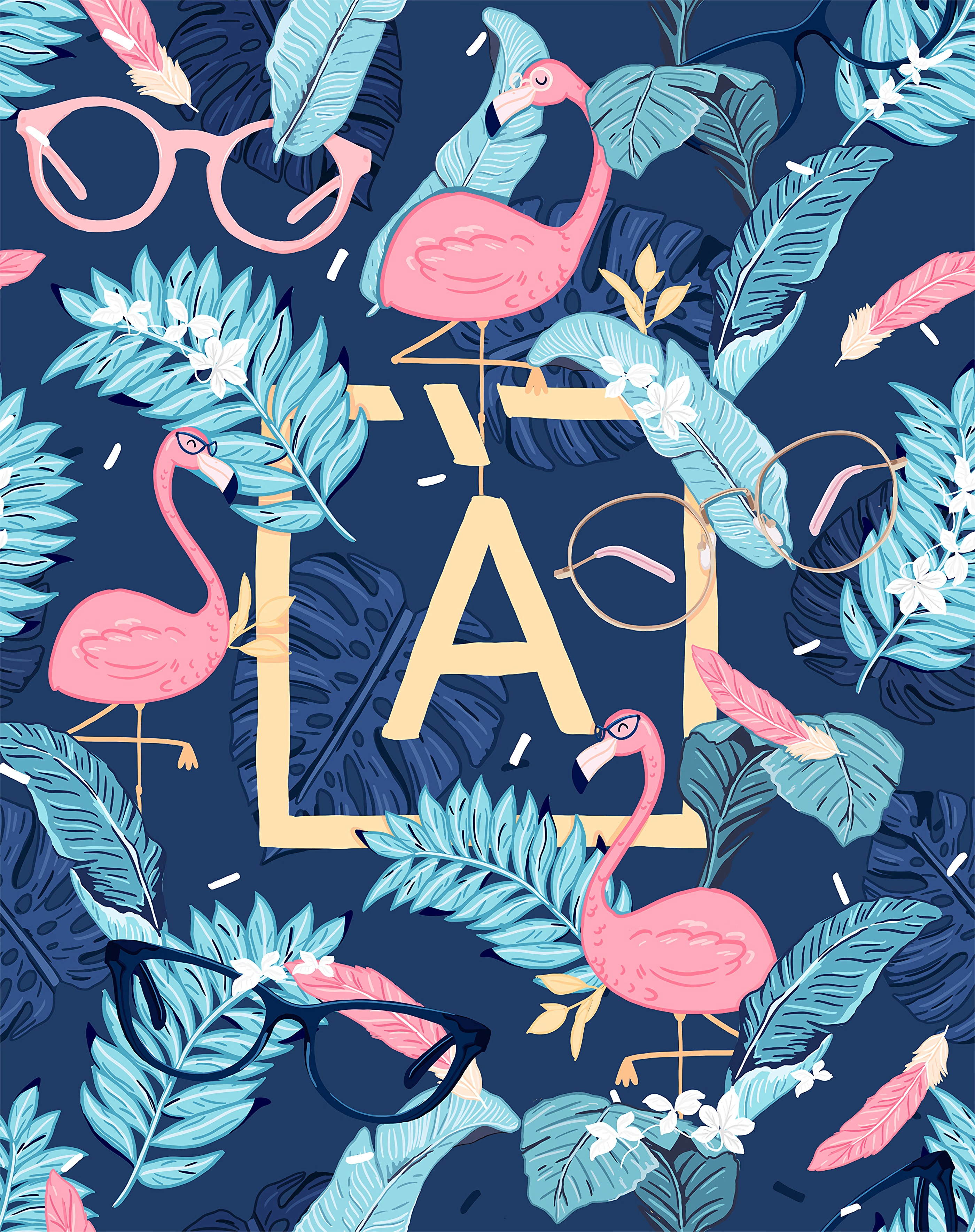 117726 download wallpaper Letter, Flamingo, Leaves, Glasses, Spectacles, Art screensavers and pictures for free
