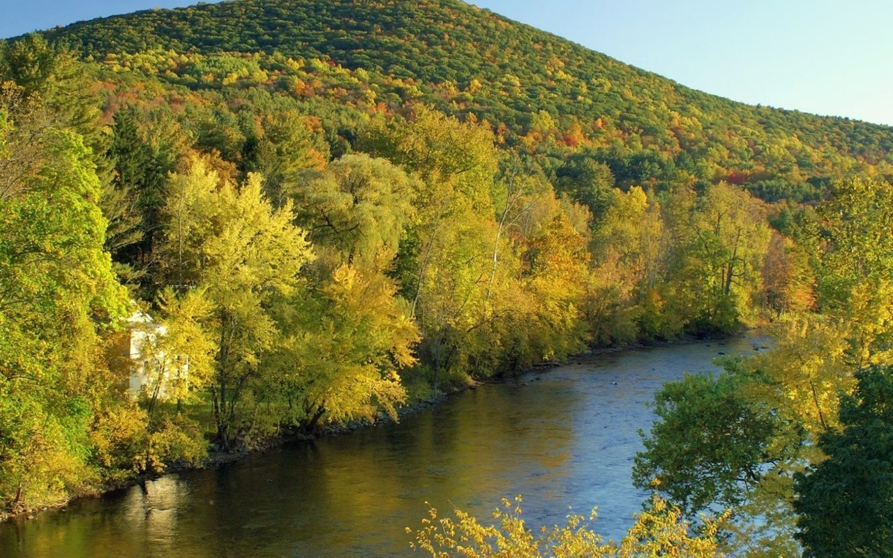 27088 download wallpaper Landscape, Rivers, Mountains, Autumn screensavers and pictures for free