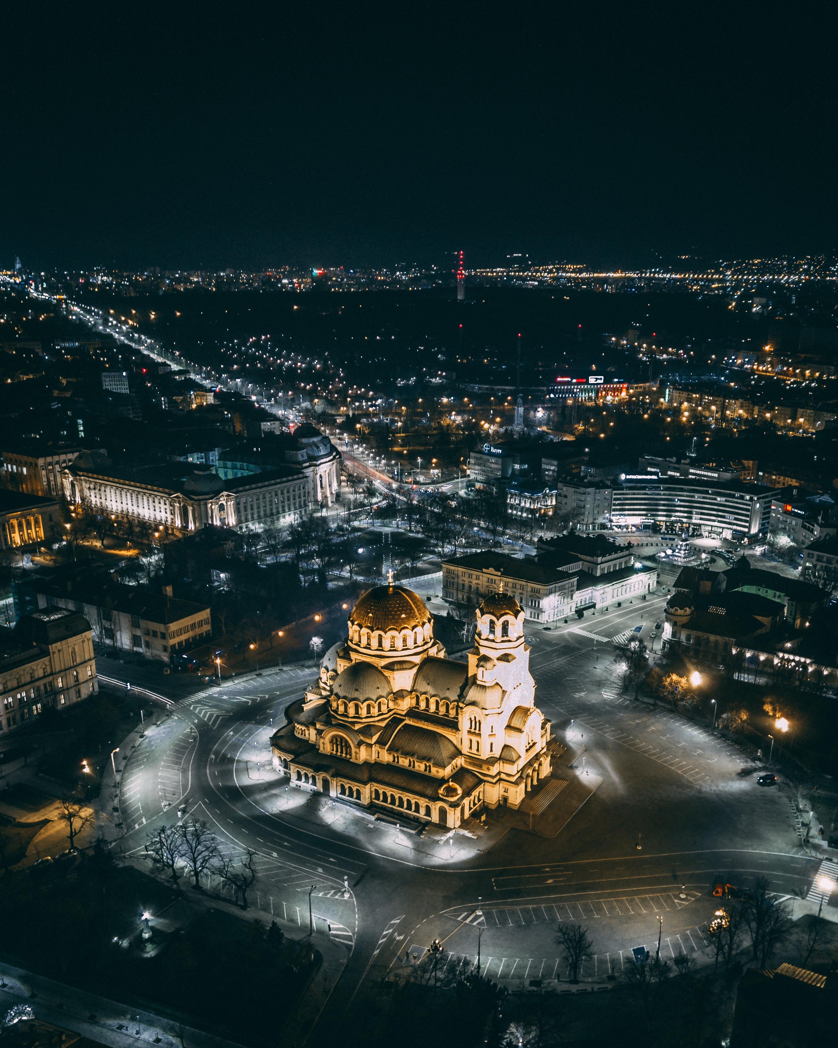 51021 免費下載壁紙 夜城, 从上面看, 顶视图, 城市的灯光, 城市之光, 建筑, 城市 屏保和圖片
