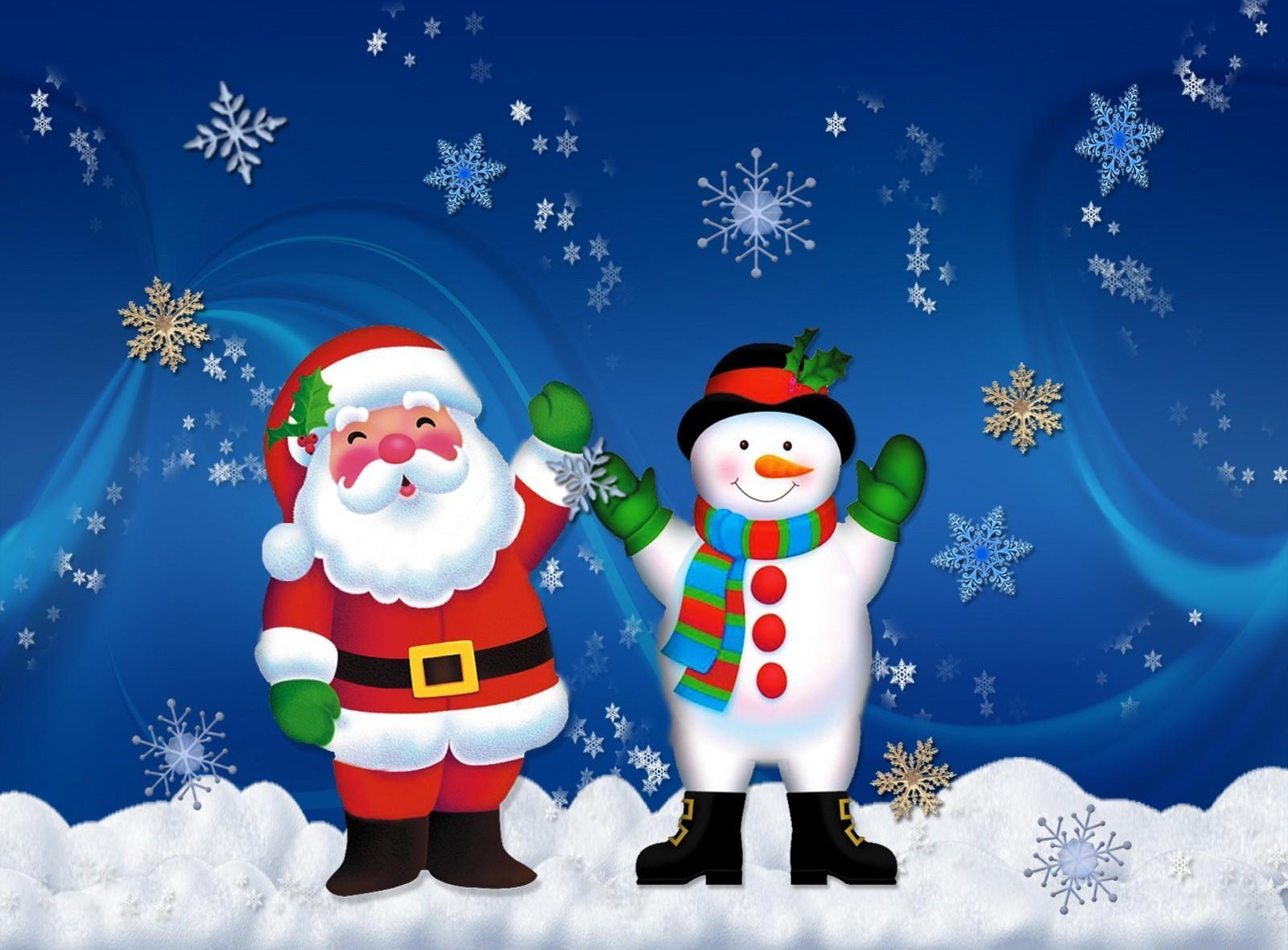 87962 скачать обои Снежинки, Праздники, Рождество, Праздник, Настроение, Снеговик, Санта Клаус - заставки и картинки бесплатно