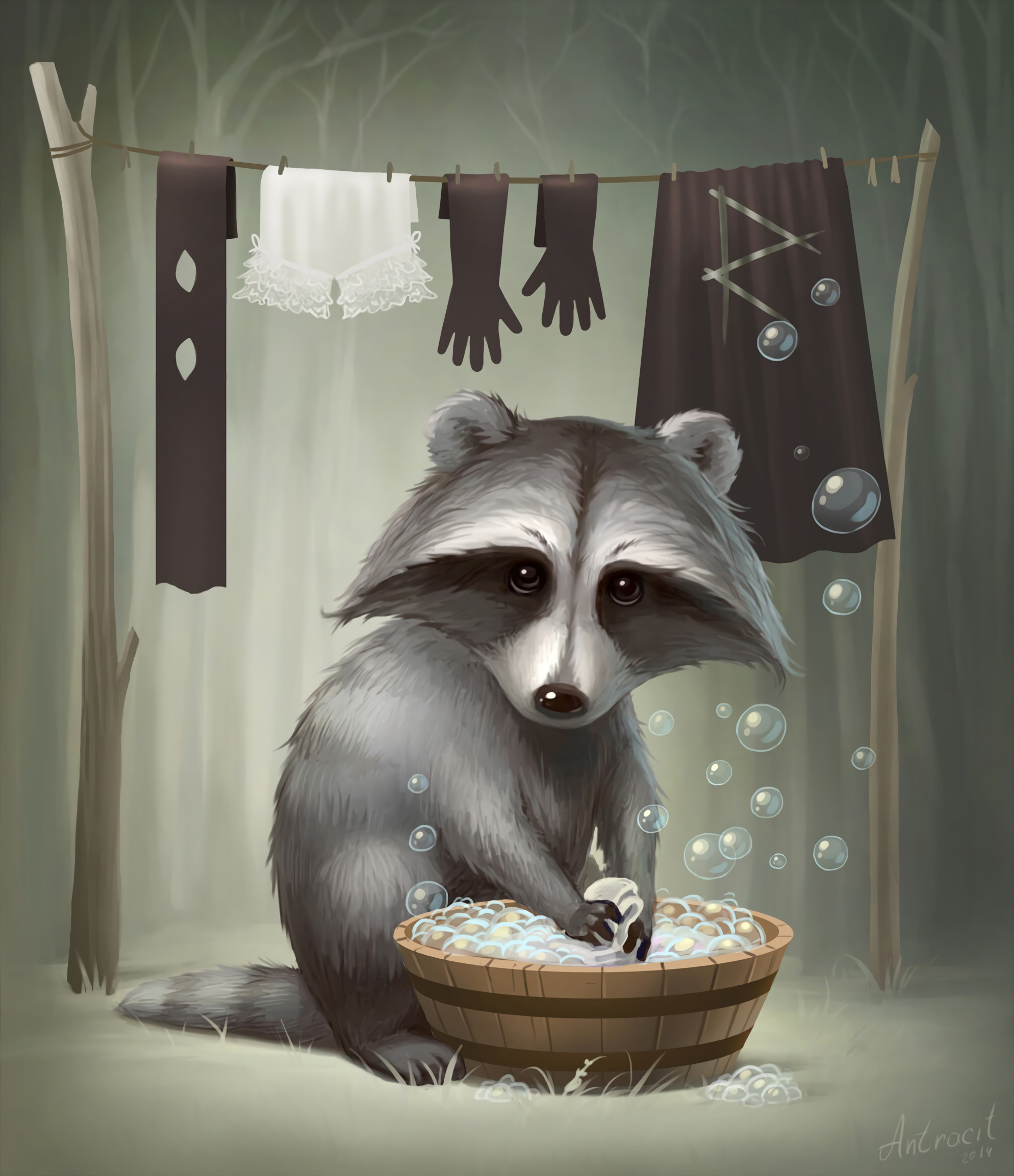 104291 download wallpaper Raccoon, Nice, Sweetheart, Art screensavers and pictures for free