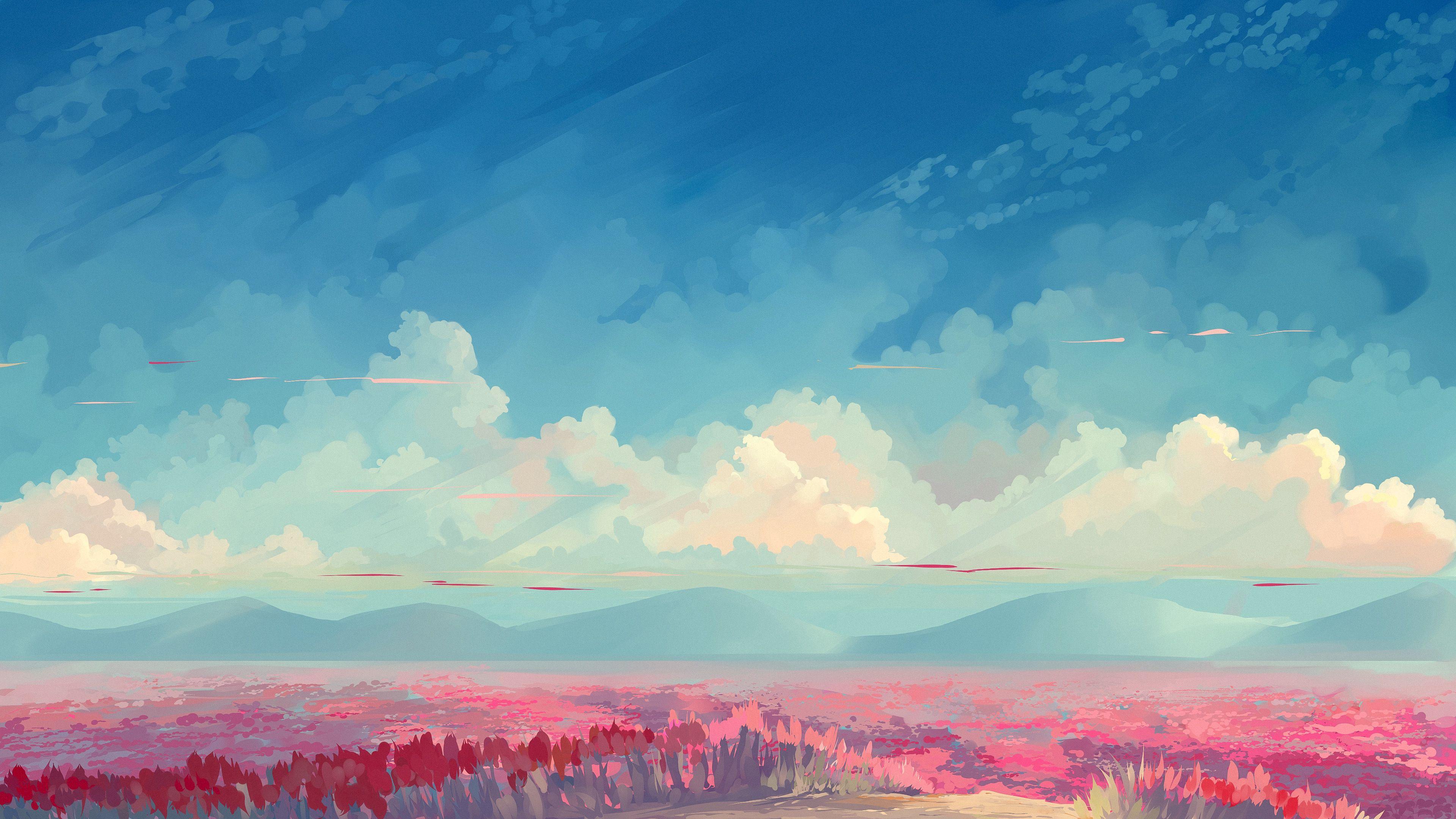 140007 скачать обои Тюльпаны, Цветы, Небо, Арт, Облака, Поле - заставки и картинки бесплатно