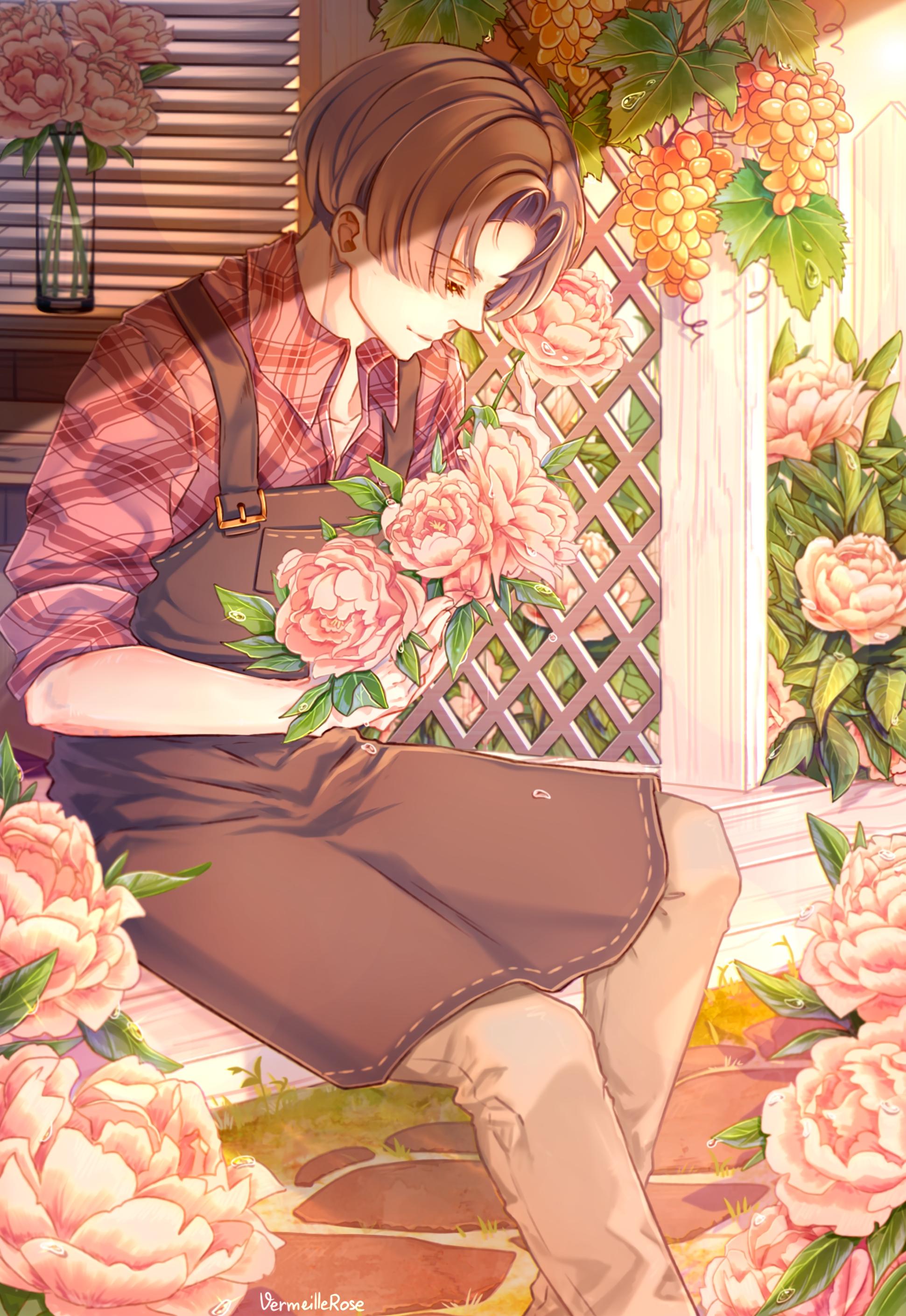 125012 descargar fondo de pantalla Jardinero, Anime, Chico, Sujeto, Flores: protectores de pantalla e imágenes gratis