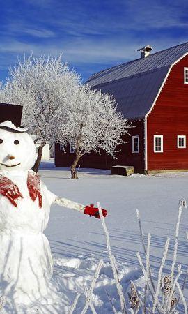 21191 скачать обои Пейзаж, Зима, Дома, Снег, Снеговики - заставки и картинки бесплатно