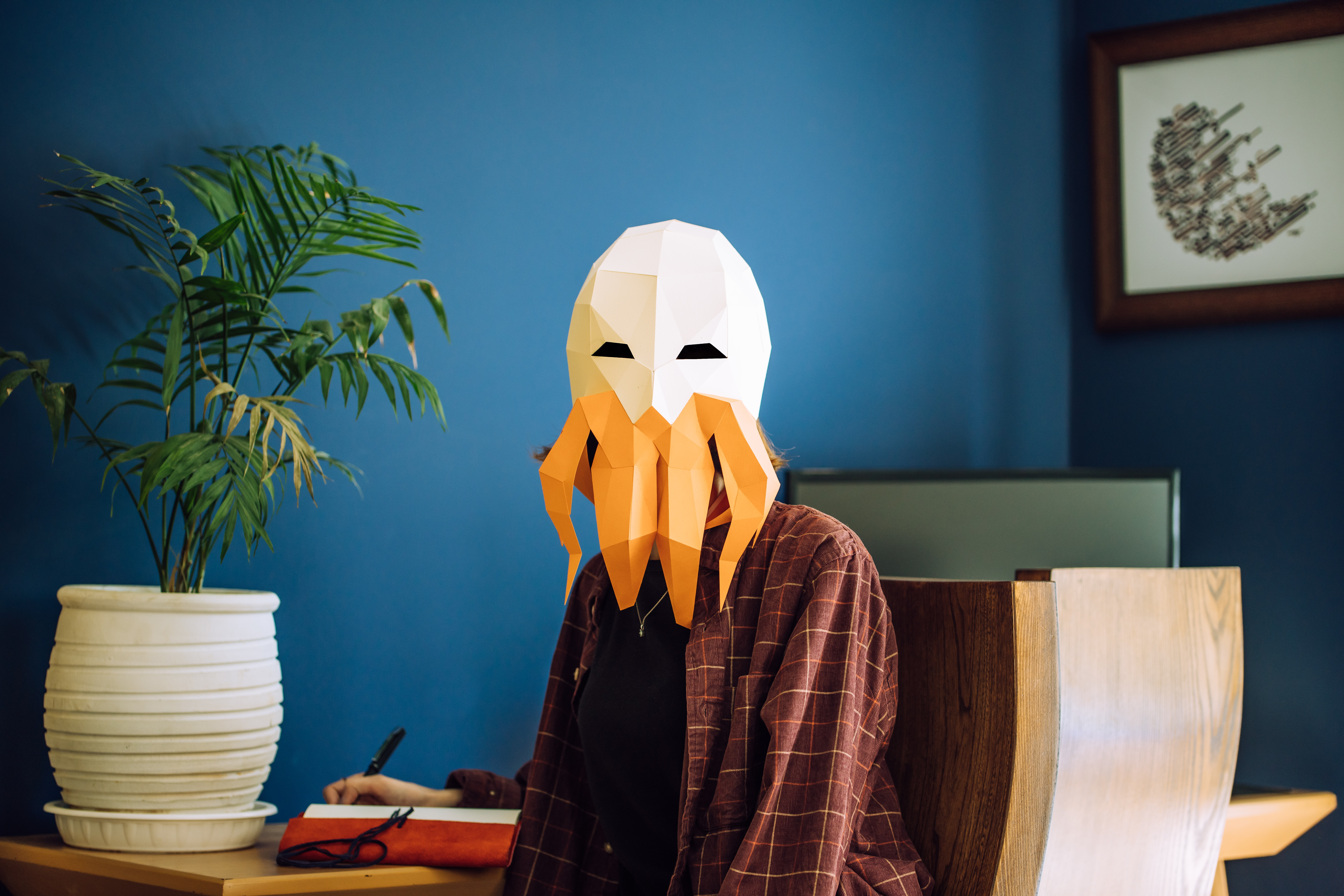 85690 download wallpaper Miscellanea, Miscellaneous, Human, Person, Mask, Polygon, Octopus, Room screensavers and pictures for free