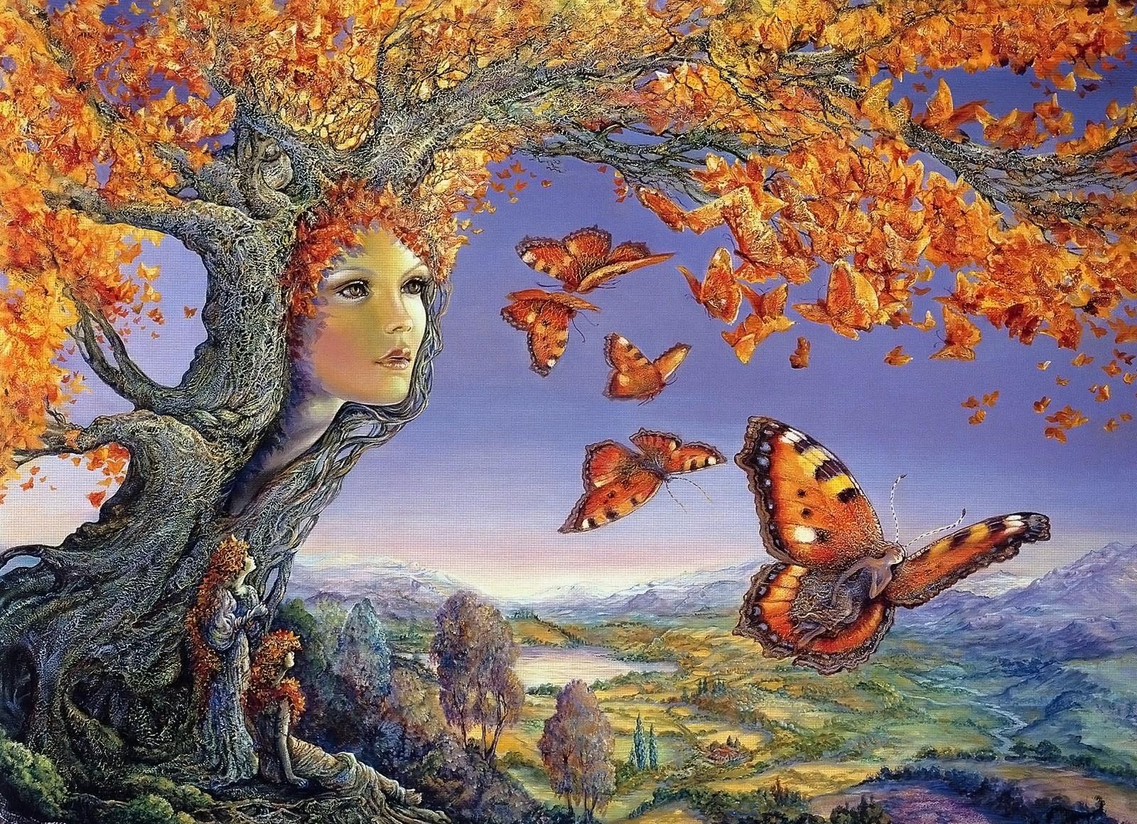 74341 Screensavers and Wallpapers Butterflies for phone. Download Fantasy, Wood, Tree, Autumn, Face, Butterflies, Leaves, Girls, Surprise, Astonishment pictures for free