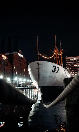 Скачать бесплатно картинку 71898: Разное, Корабль, Вода, Здания, Огни обои на телефон