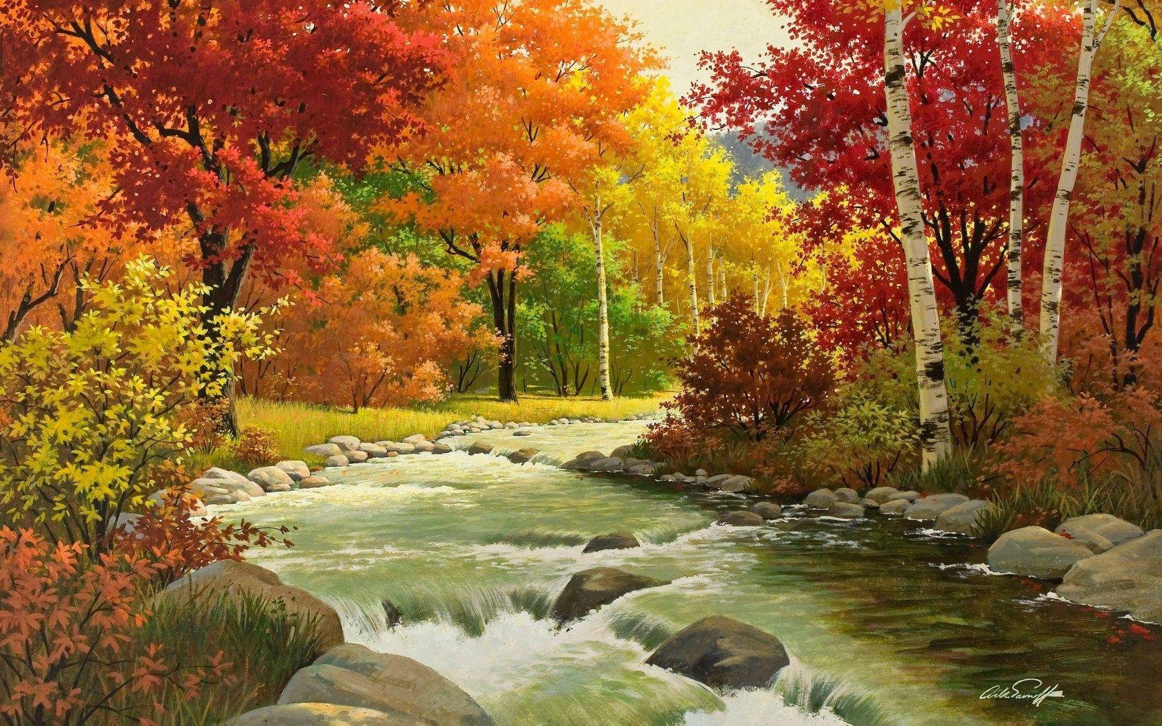 108095 завантажити шпалери Осінь, Пейзаж, Річка, Природа, Ліс, Живопис - заставки і картинки безкоштовно