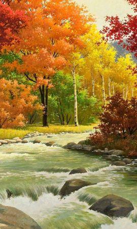 108095 скачать обои Природа, Осень, Живопись, Река, Лес, Пейзаж - заставки и картинки бесплатно