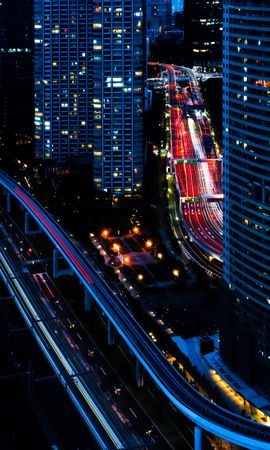 130552 Screensavers and Wallpapers Roads for phone. Download Building, Roads, View From Above, City, Night, Dark, Cities pictures for free