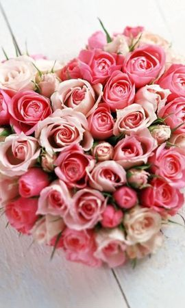 19469 скачать обои Праздники, Растения, Цветы, Розы, Сердца, День Святого Валентина (Valentine's Day), Букеты - заставки и картинки бесплатно
