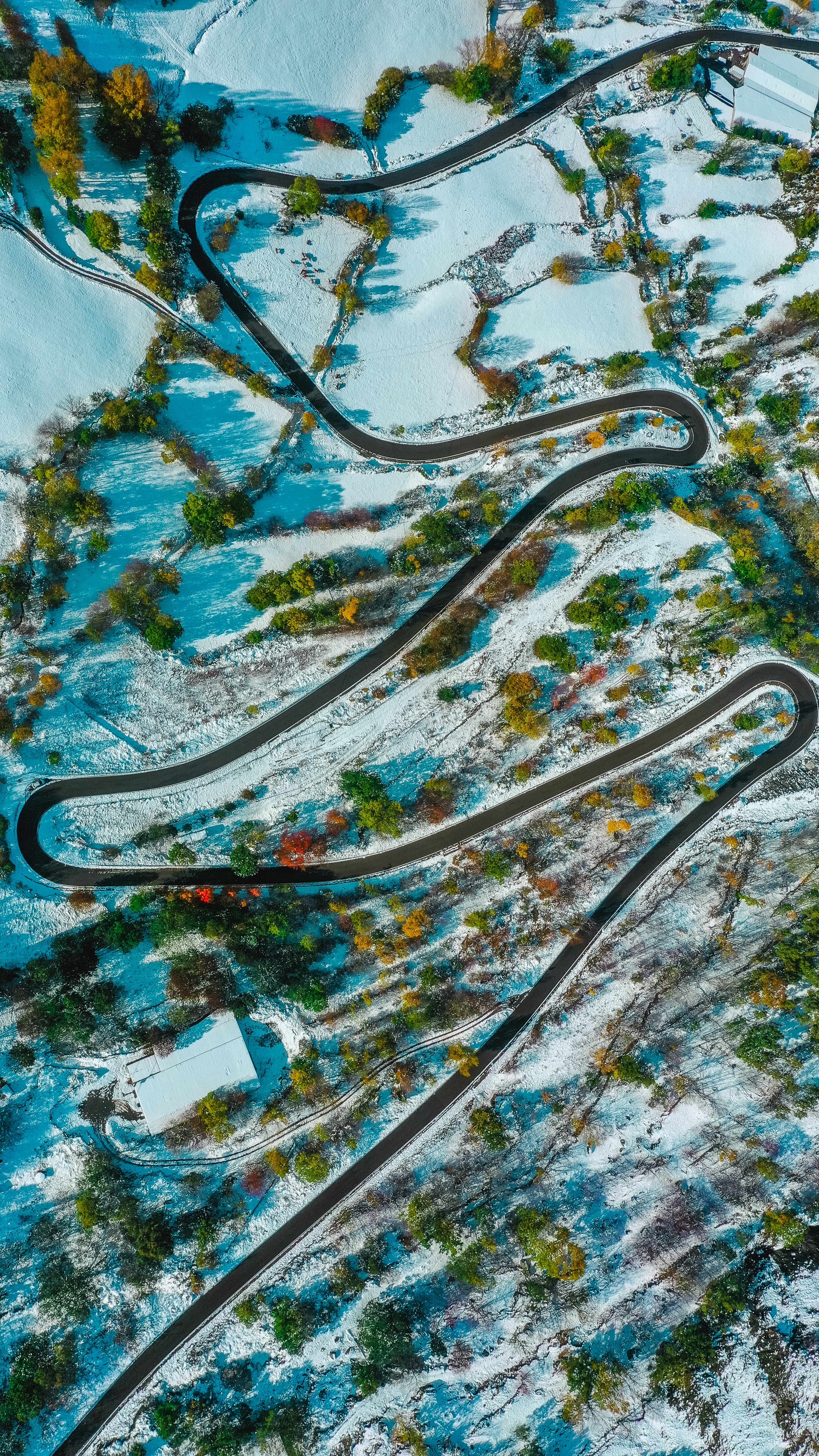 101907 download wallpaper Nature, Road, Winding, Sinuous, View From Above, Snow Covered, Snowbound, Relief screensavers and pictures for free