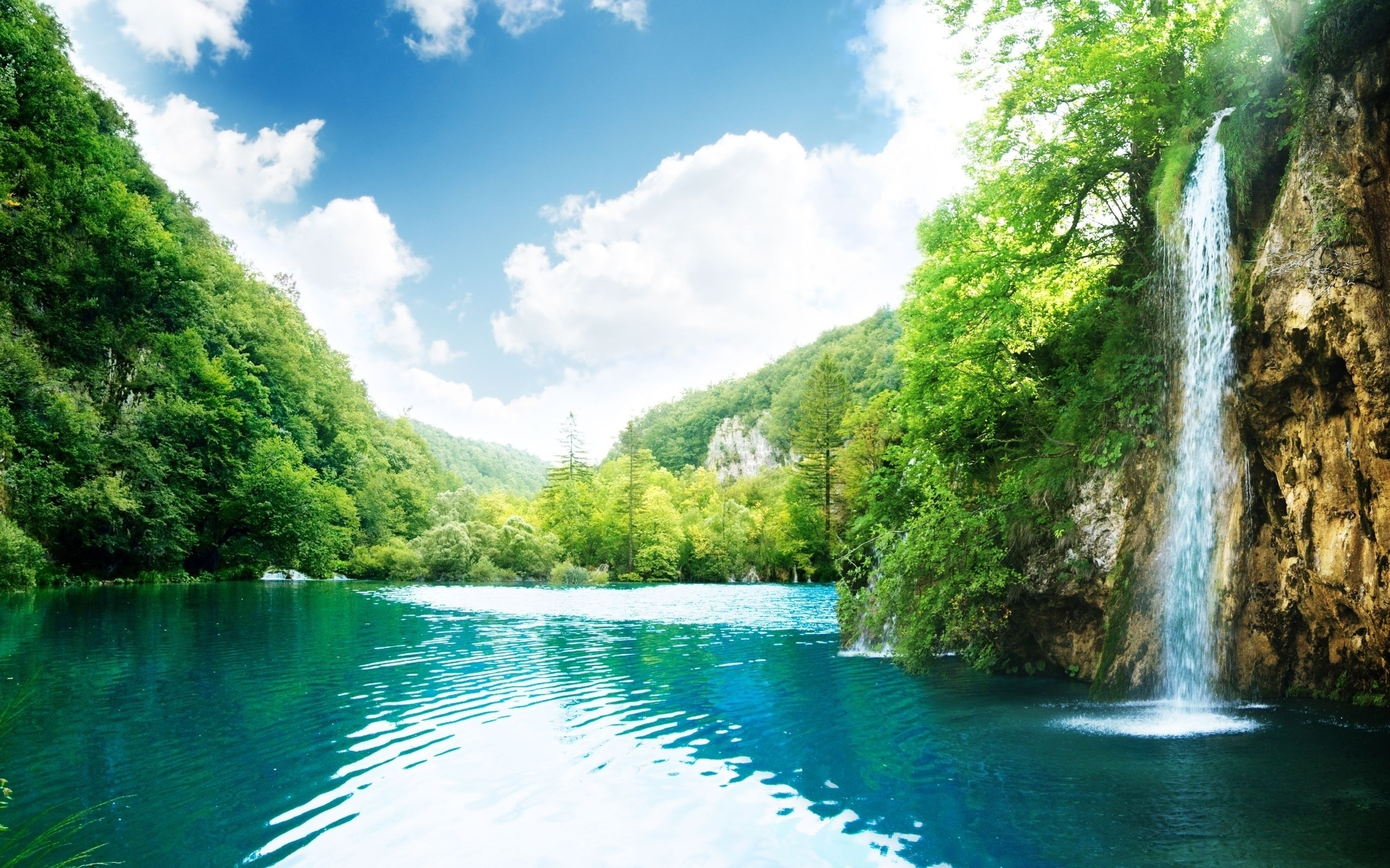 22548 download wallpaper Landscape, Sky, Waterfalls, Lakes screensavers and pictures for free