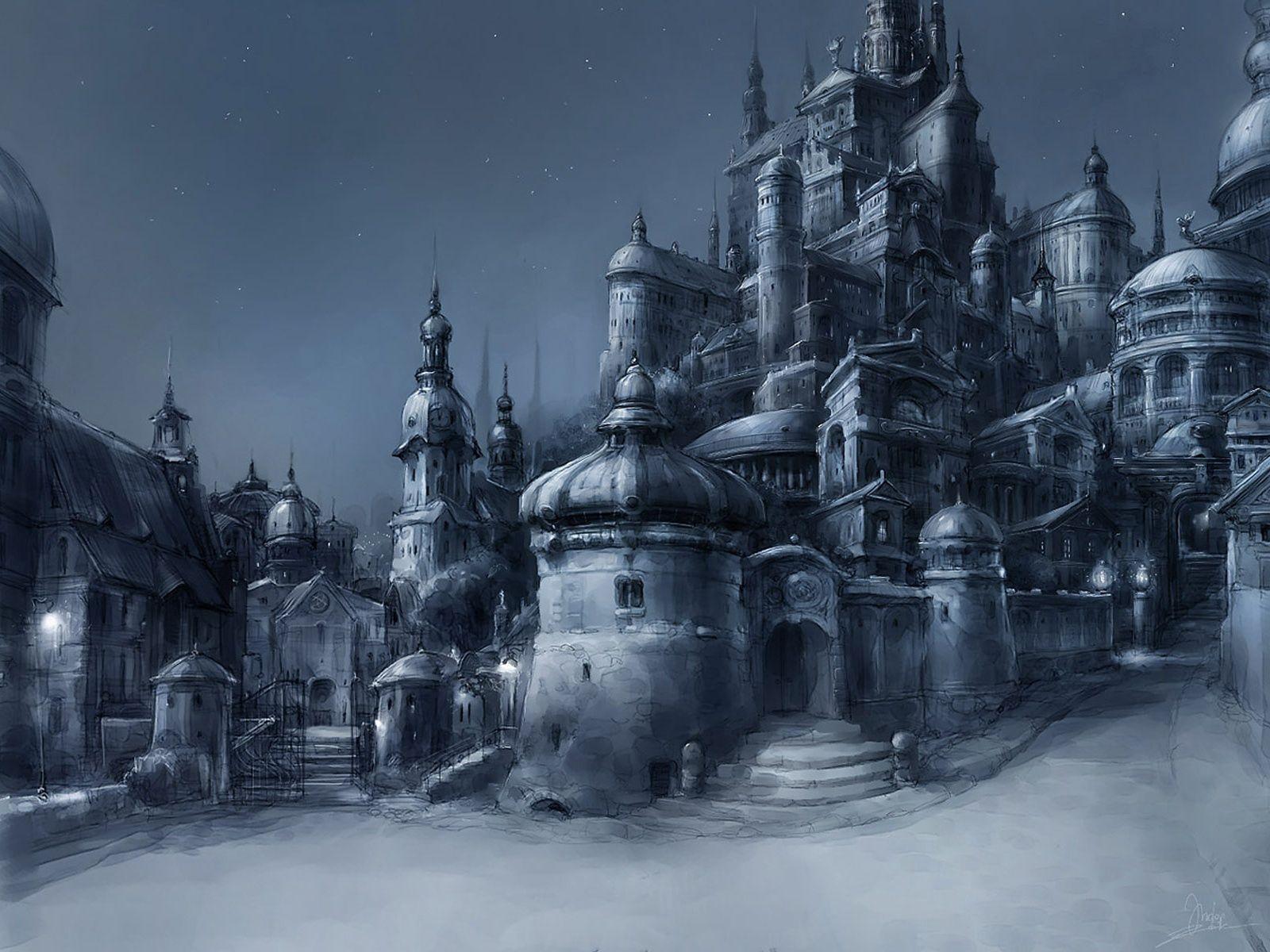 138226 baixar papel de parede Fantasia, Cidade, Noite, Preto E Branco, Preto-E-Branco - protetores de tela e imagens gratuitamente