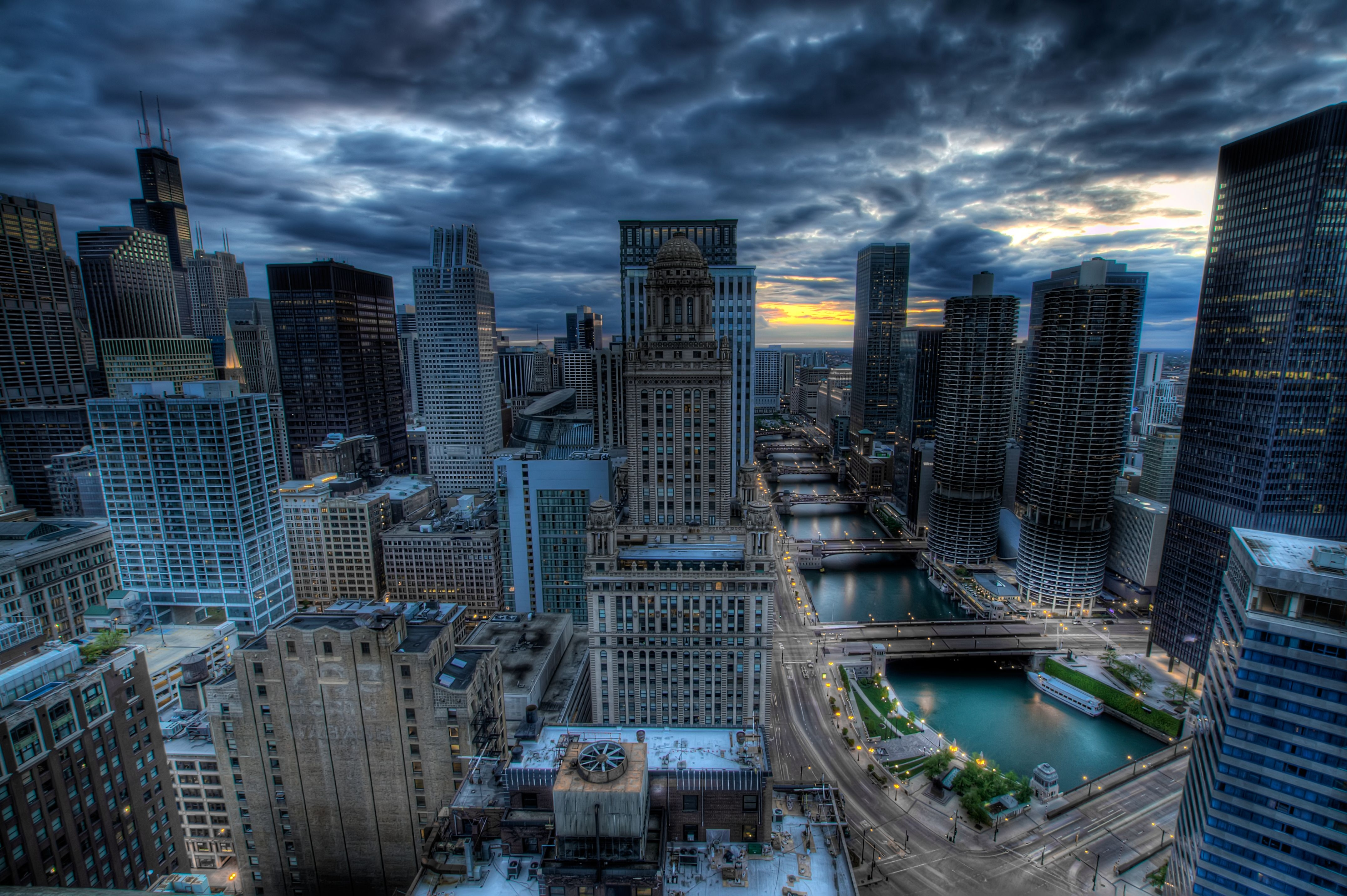 129247 download wallpaper Cities, Rivers, Bridges, Building, Skyscrapers, Hdr, Chicago screensavers and pictures for free