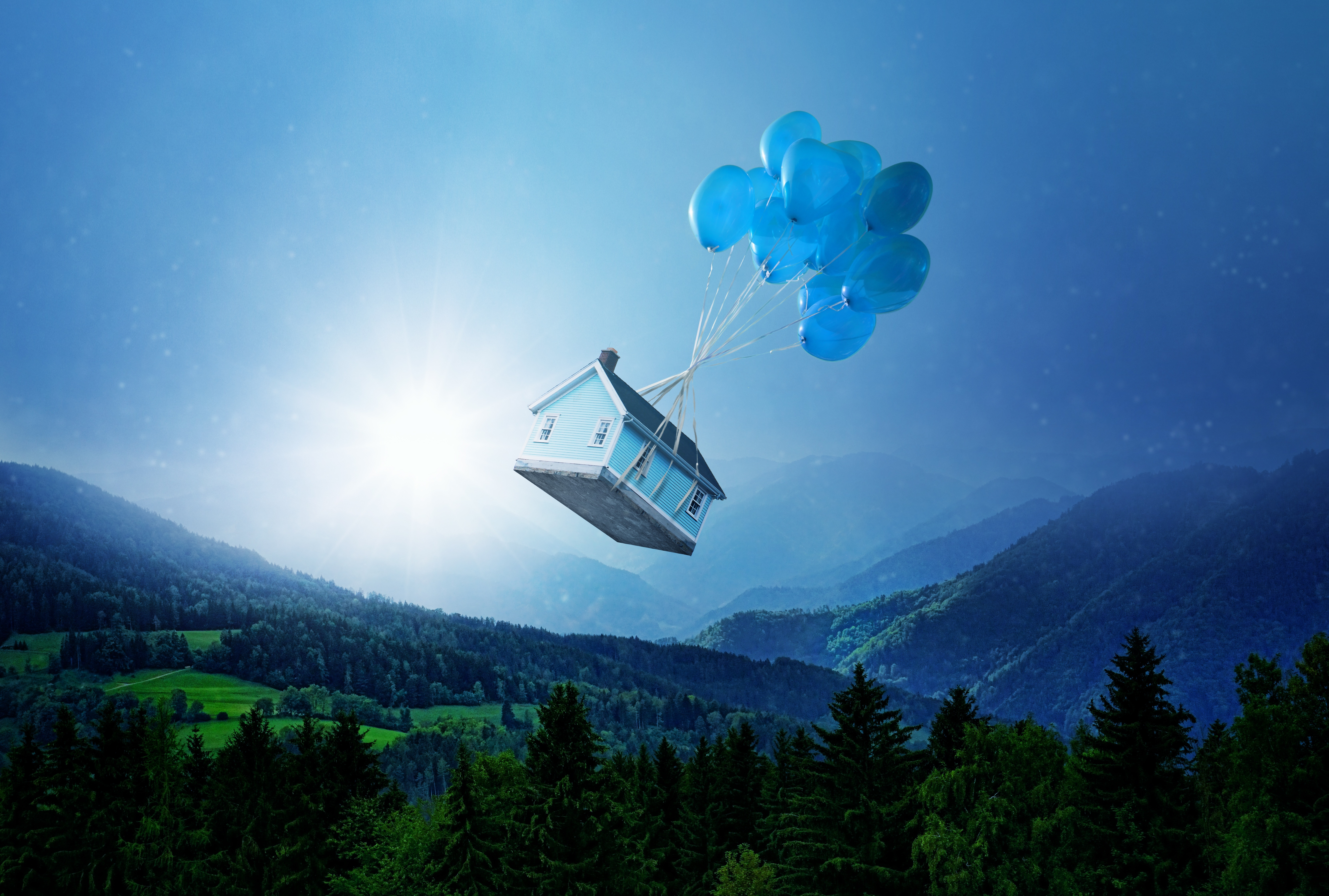76217 Screensavers and Wallpapers Balloons for phone. Download Small House, Fantasy, Balloons, Miscellanea, Miscellaneous, Forest, Lodge, Flight pictures for free