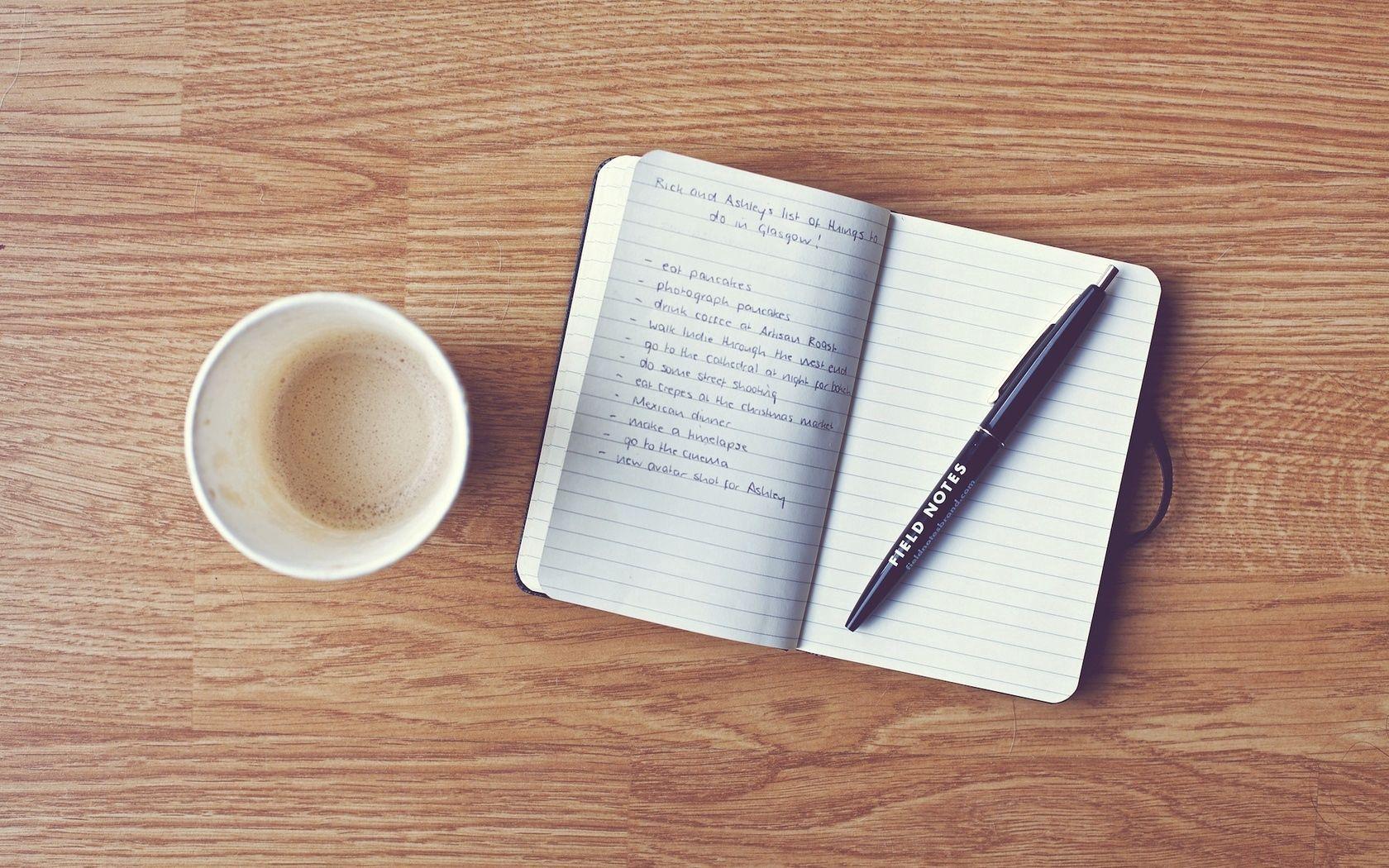 133173 papel de parede 720x1280 em seu telefone gratuitamente, baixe imagens Comida, Café, Caderno, Bloco De Notas, Uma Caneta, Caneta, Gravações, Registro 720x1280 em seu celular
