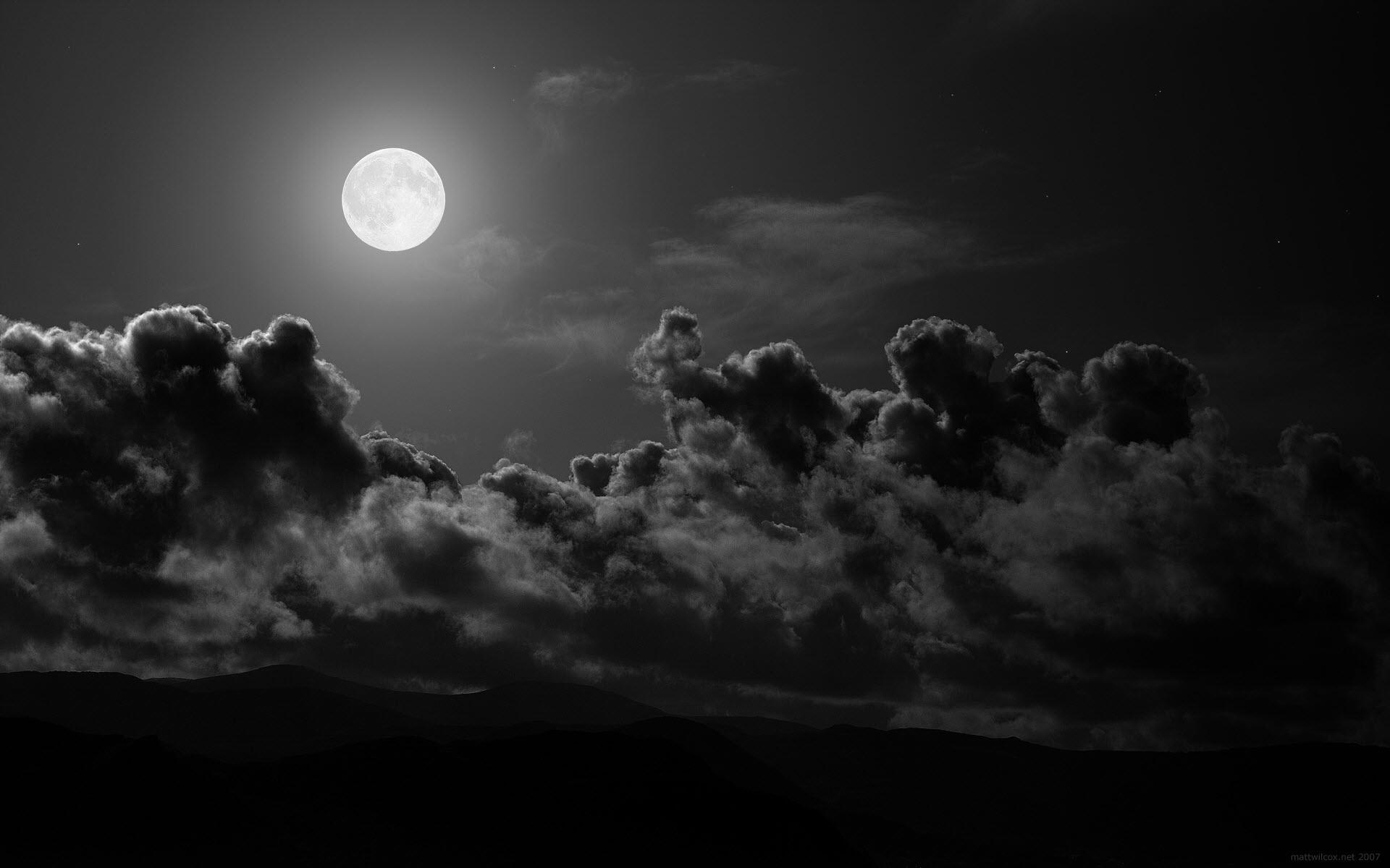 12024 免費下載壁紙 景观, 夜, 云, 月球 屏保和圖片
