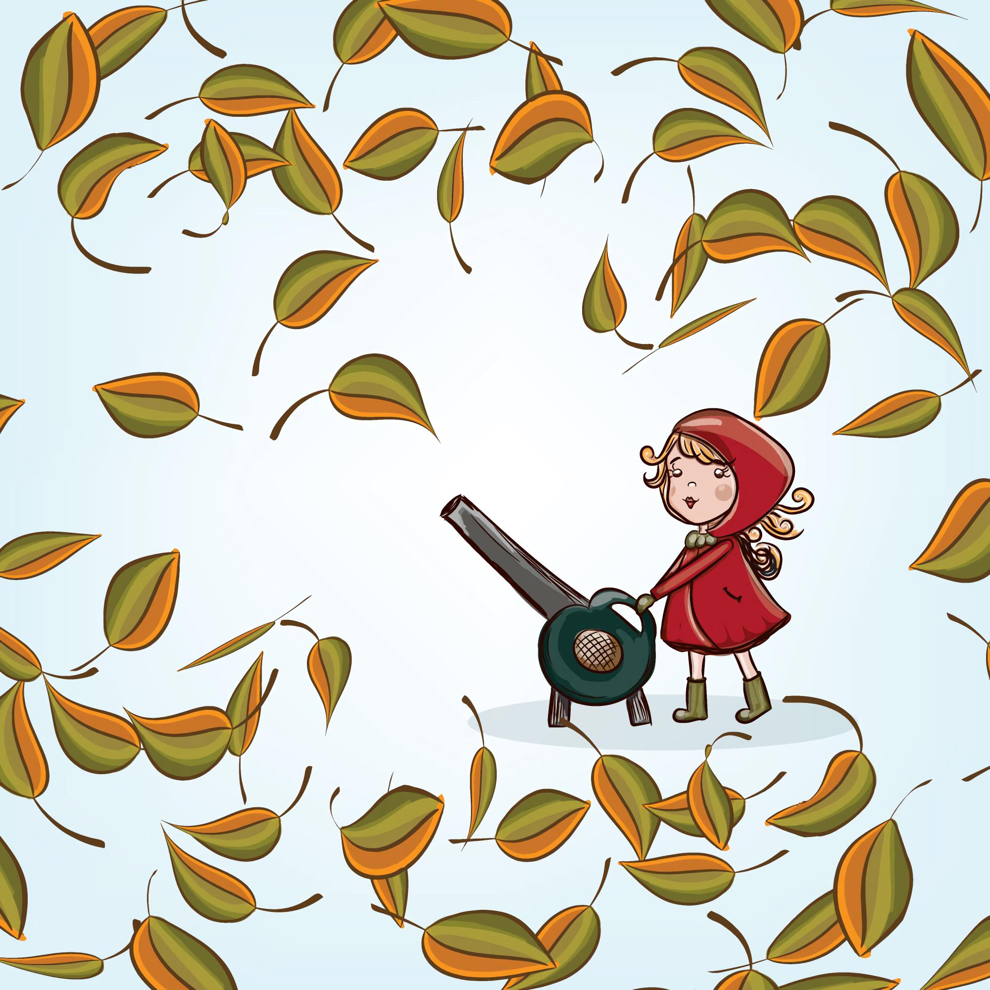 154110 скачать обои Вектор, Девочка, Листья, Осень - заставки и картинки бесплатно