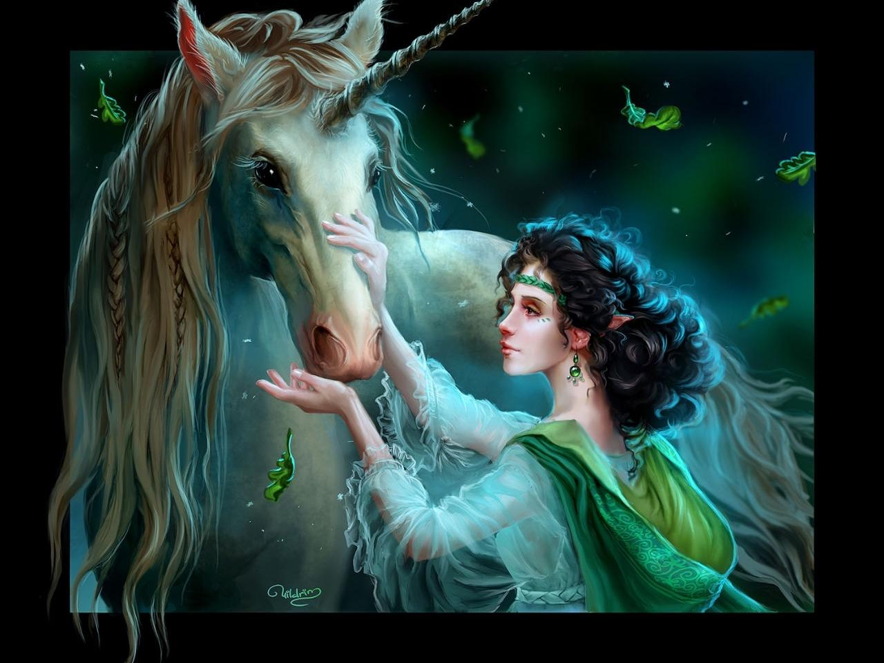 30233 Hintergrundbild herunterladen Mädchen, Fantasie, Unicorns - Bildschirmschoner und Bilder kostenlos