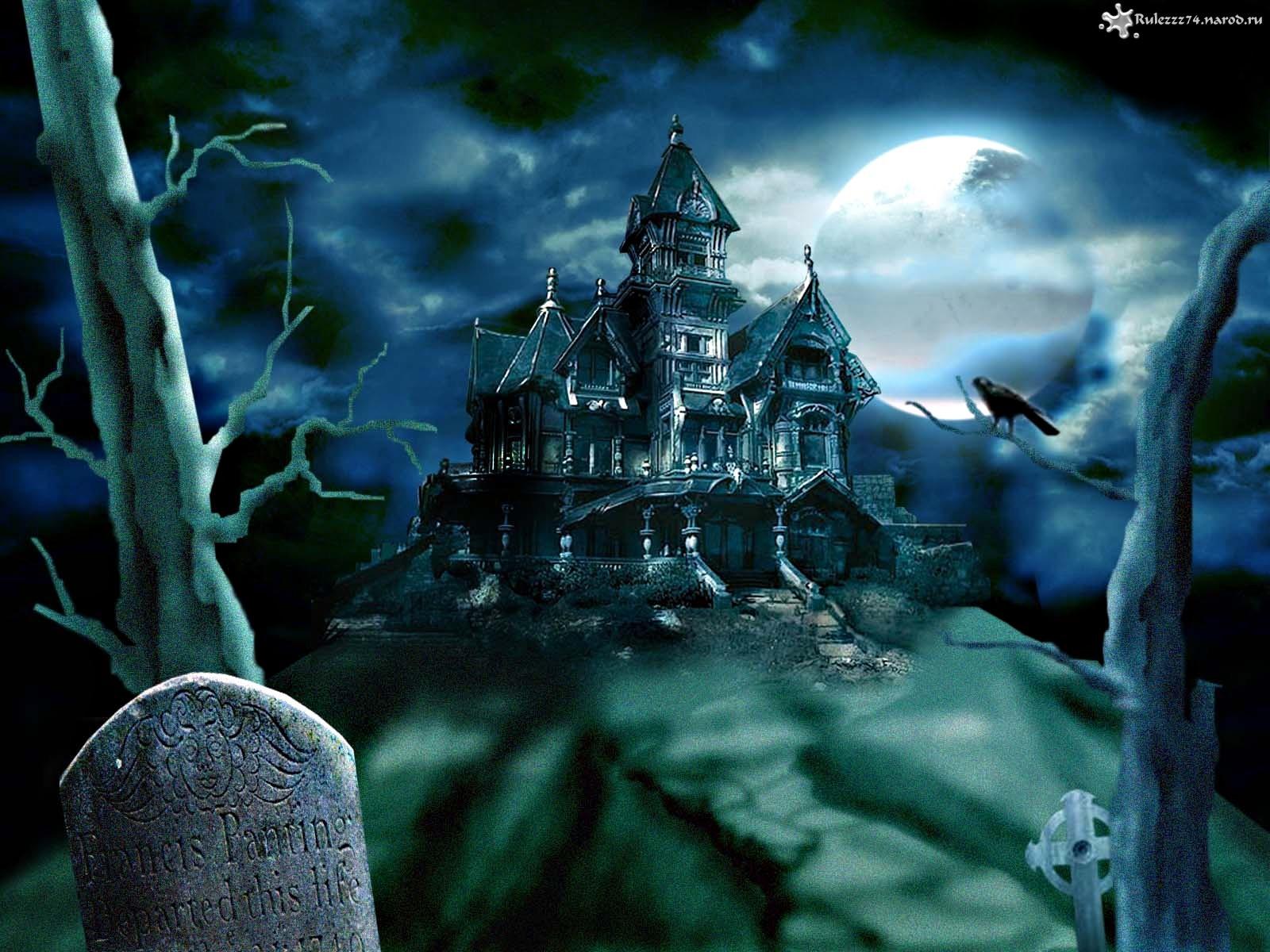 15582 скачать обои Замки, Хэллоуин (Halloween), Рисунки, Пейзаж, Дома - заставки и картинки бесплатно