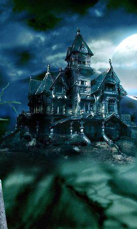 15582 скачать обои Пейзаж, Дома, Хэллоуин (Halloween), Замки, Рисунки - заставки и картинки бесплатно