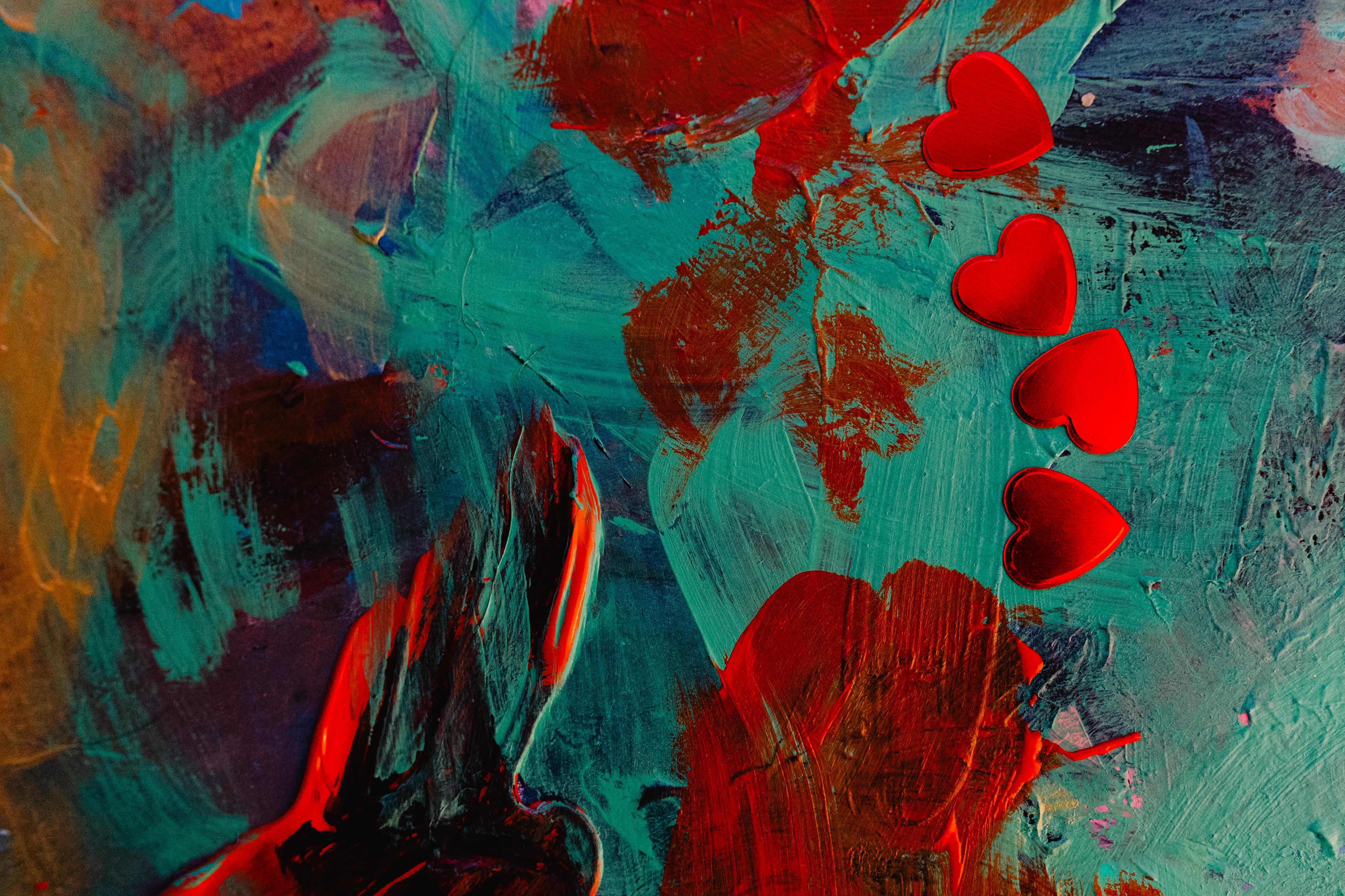 85873 baixar papel de parede Abstrato, Corações, Pintar, Manchas, Pontos, Abstrair - protetores de tela e imagens gratuitamente