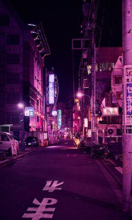 83024 baixar papel de parede Rua, Néon, Cidade Noturna, Luz De Fundo, Iluminação, Roxo, Violeta, Tóquio, Cidades - protetores de tela e imagens gratuitamente
