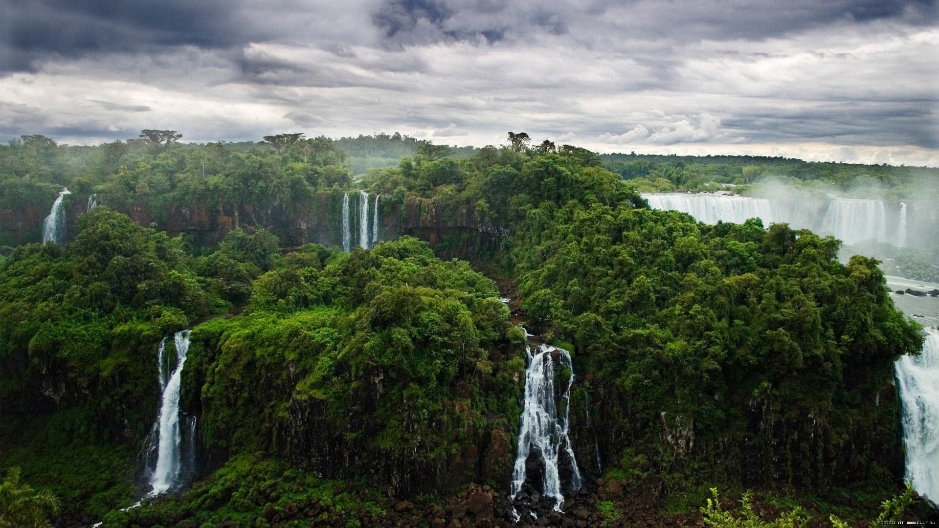 23527 скачать обои Пейзаж, Деревья, Облака, Водопады - заставки и картинки бесплатно