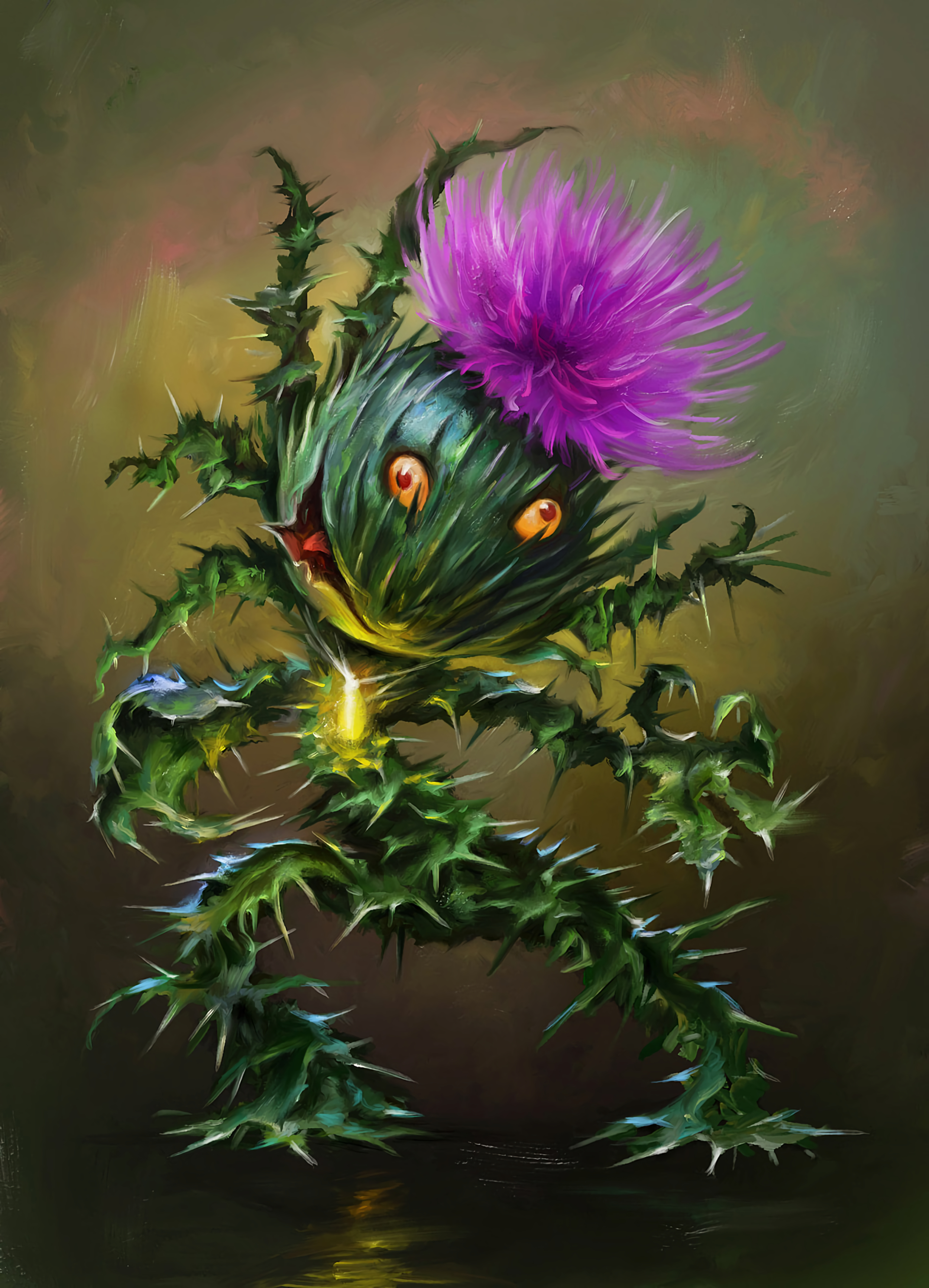 158042 download wallpaper Funny, Art, Flower, Emotions, Thistle screensavers and pictures for free