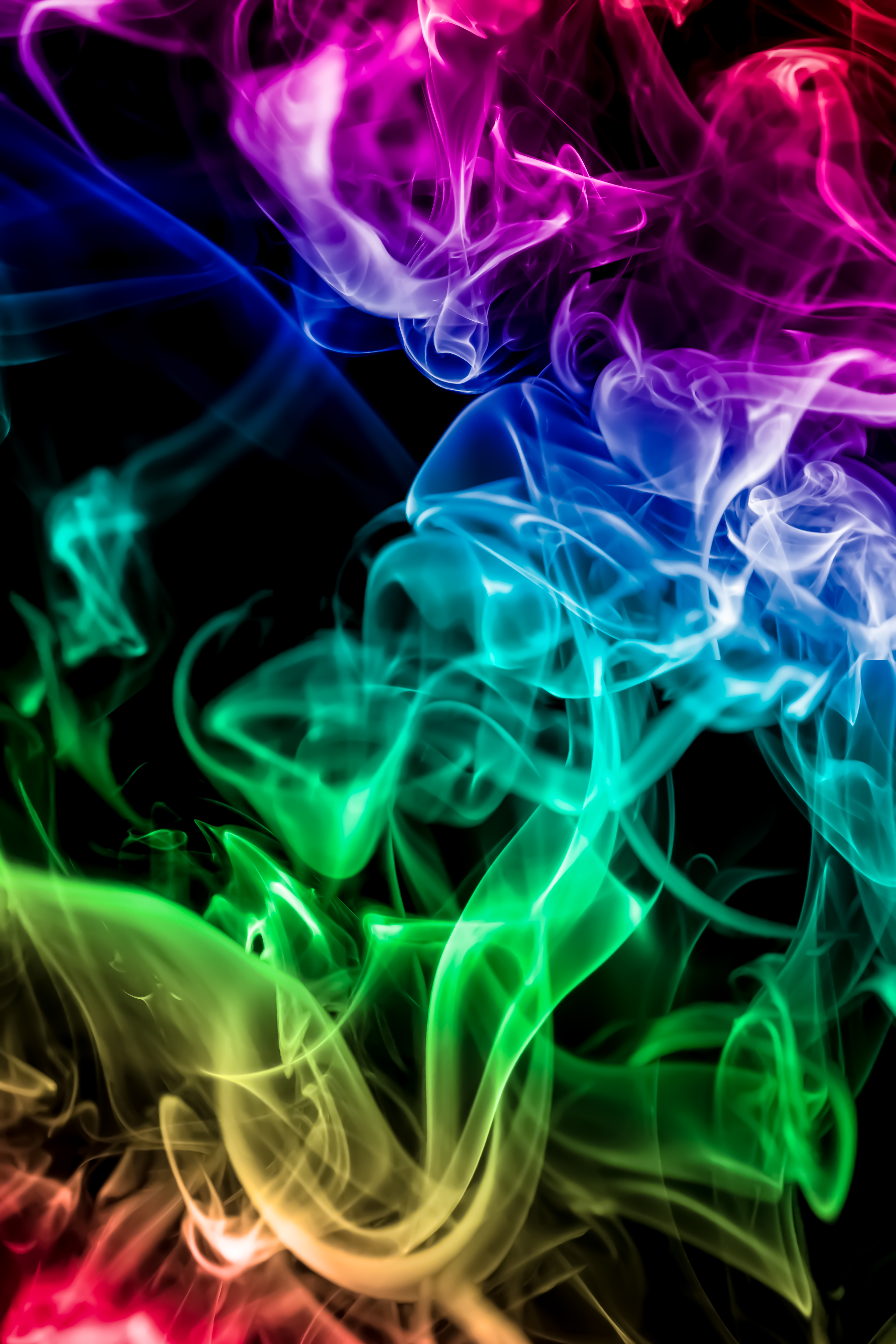 153441 скачать обои Радуга, Абстракция, Дым, Разноцветный, Темный, Цветной Дым - заставки и картинки бесплатно