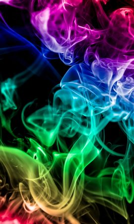 153441 télécharger le fond d'écran Abstrait, Fumée Colorée, Multicolore, Hétéroclite, Arc En Ciel, Sombre, Fumée - économiseurs d'écran et images gratuitement