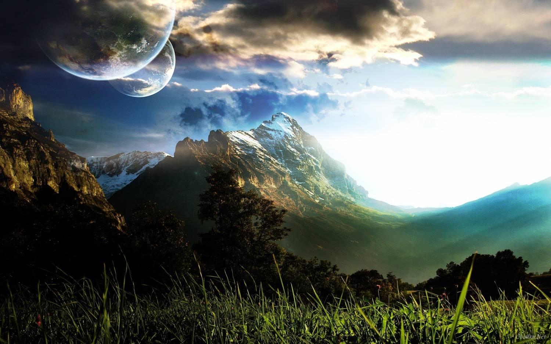 18215 скачать обои Пейзаж, Горы, Облака, Луна - заставки и картинки бесплатно