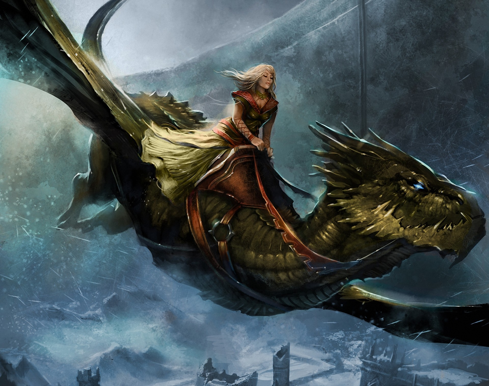 101808 download wallpaper Fantasy, Song Of Ice And Fire Roleplaying, Queen Alysanne, Game Of Thrones, Dragon, Girl, Cold, Flight, City screensavers and pictures for free