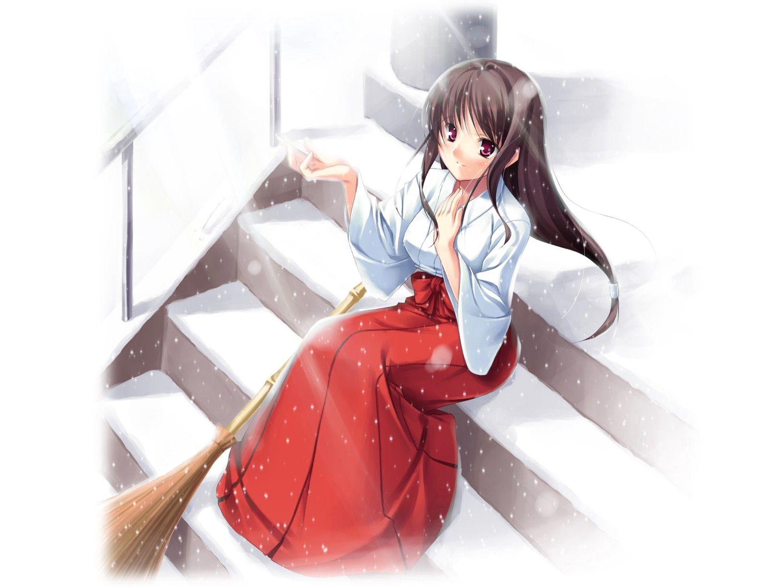 146800壁紙のダウンロード日本製アニメ, 女の子, 着物, 雪-スクリーンセーバーと写真を無料で