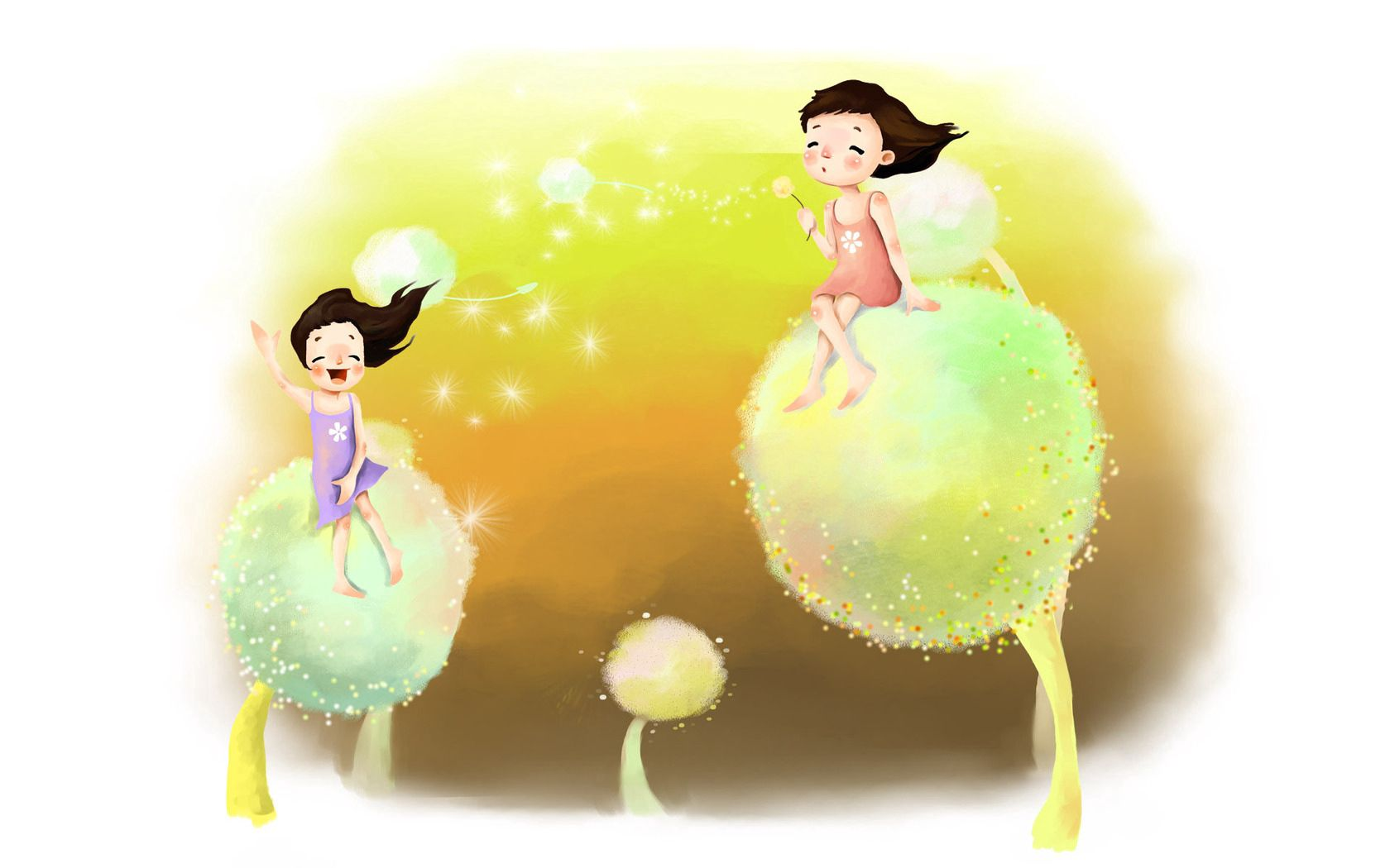 113580 download wallpaper Miscellanea, Miscellaneous, Picture, Drawing, Childhood, Girls, Dreams, Reverie, Dandelions, Fluff, Fuzz, Wind, Laugh, Laughter, Joy, Positive screensavers and pictures for free