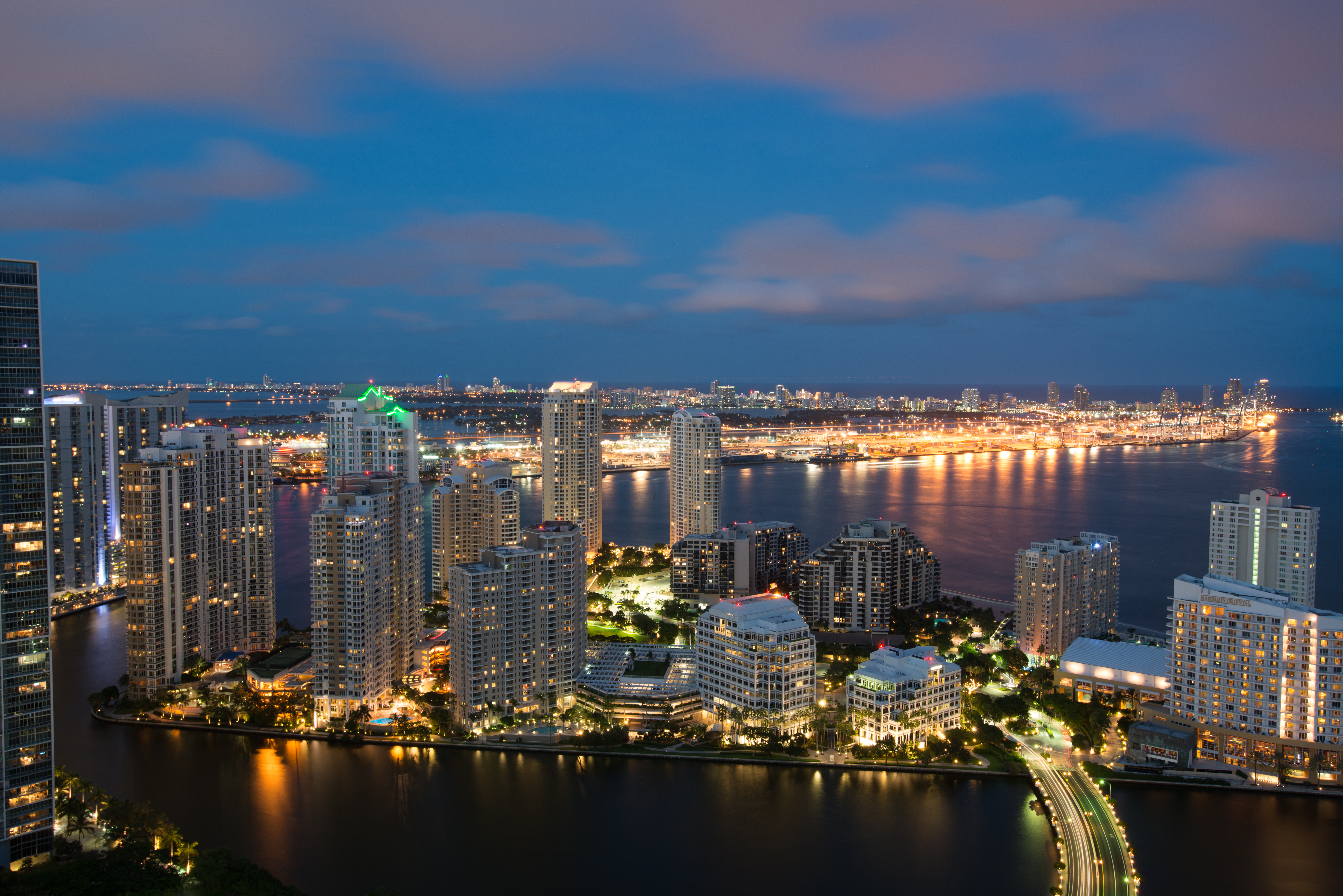 51647 download wallpaper Skyscrapers, Night City, City Lights, Miami, Architecture, Cities screensavers and pictures for free
