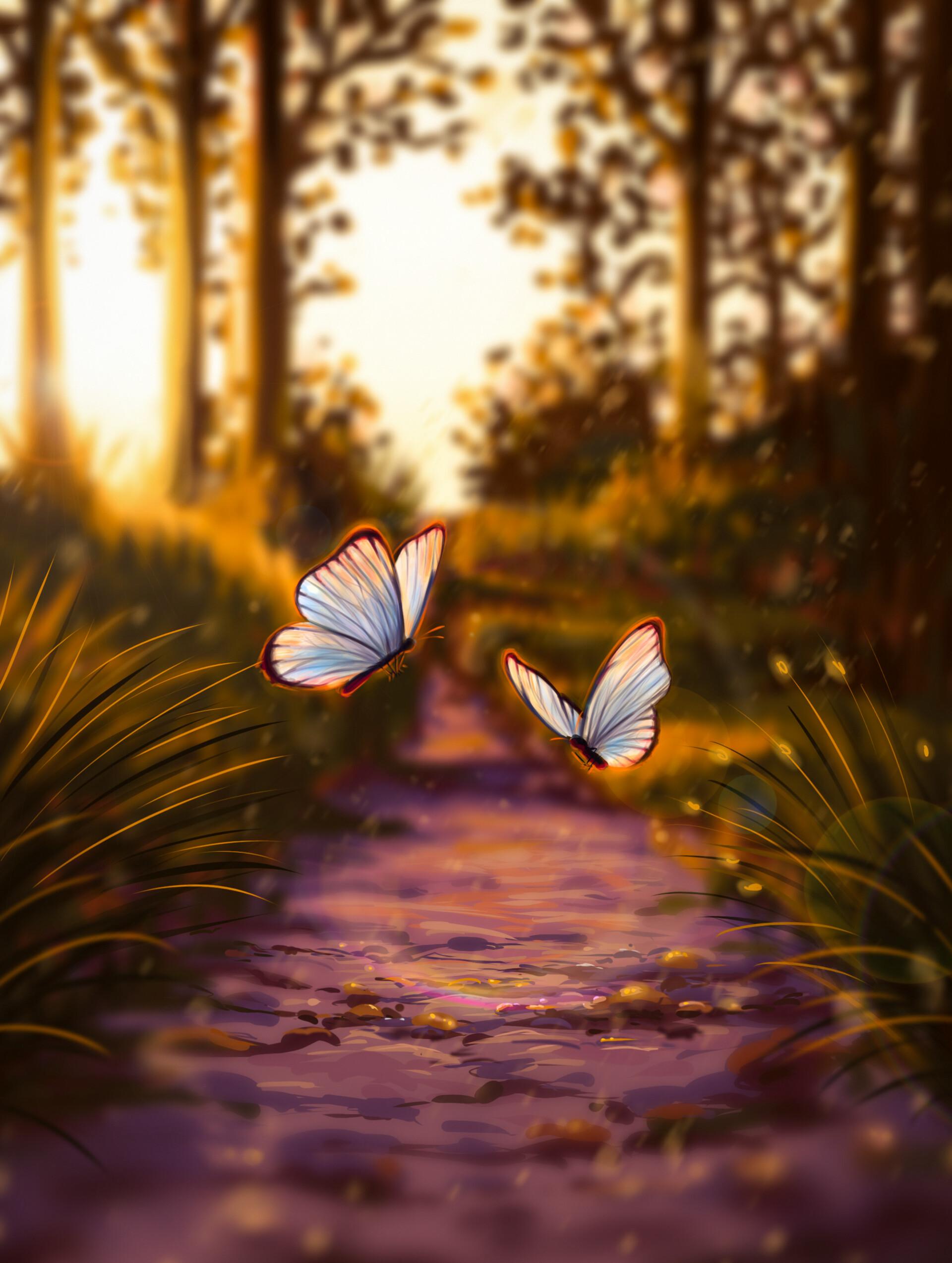 53642 скачать обои Бабочки, Арт, Блики, Свет - заставки и картинки бесплатно