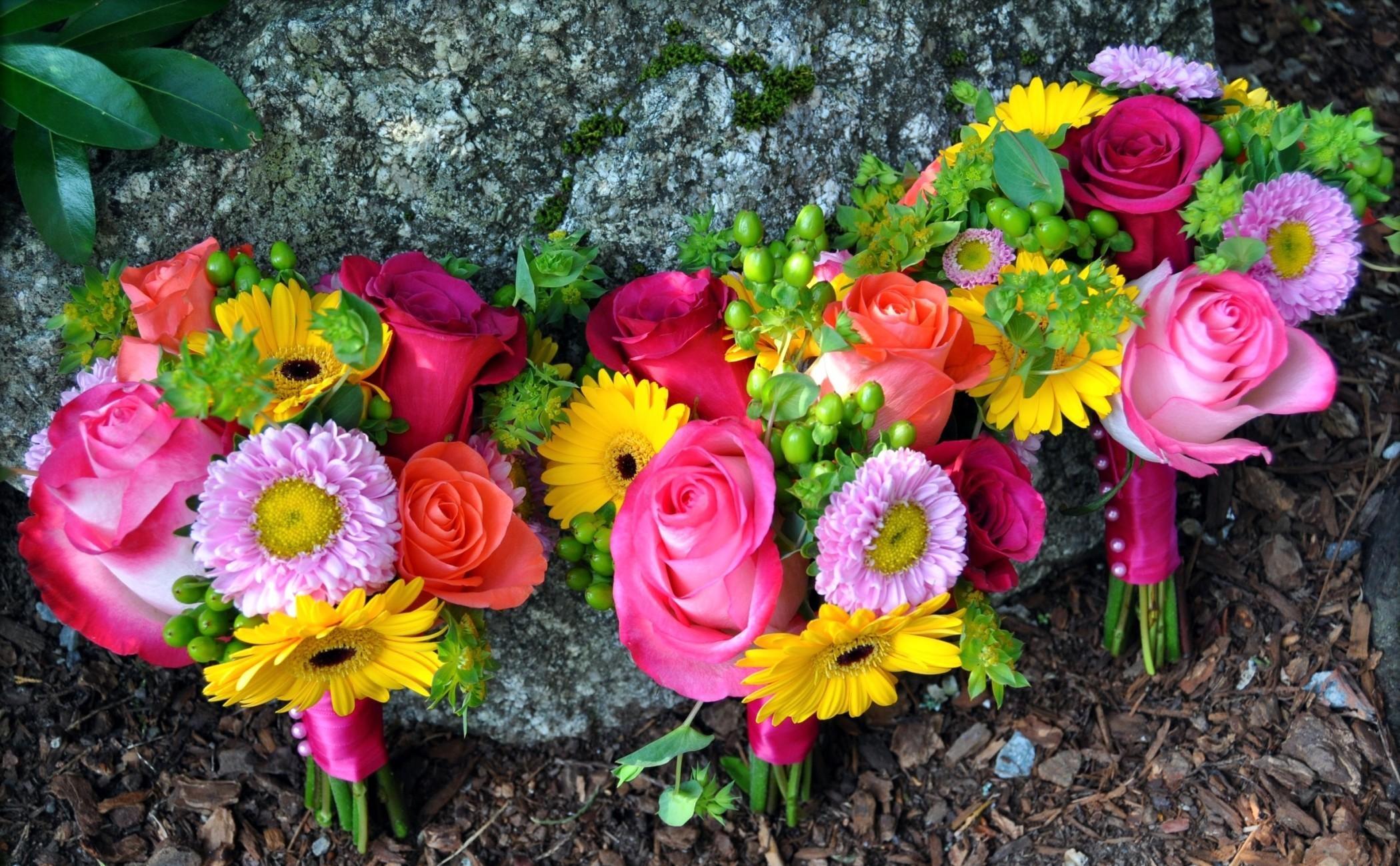 143920 télécharger le fond d'écran Fleurs, Asters, Trois, Inscription, Typographie, Un Rocher, Pierre, Roses, Gerberas, Bouquets - économiseurs d'écran et images gratuitement