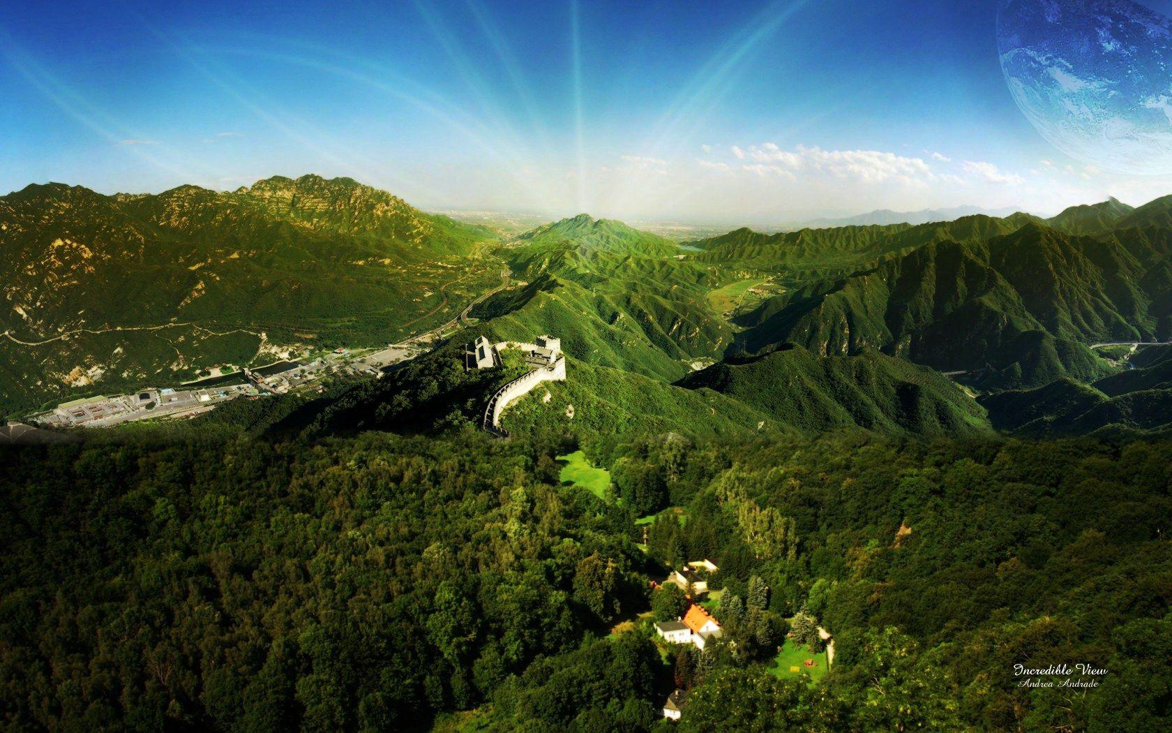 60638 fond d'écran 1080x2340 sur votre téléphone gratuitement, téléchargez des images La Grande Muraille De Chine, Nature, Arbres, Montagnes, Sun, Poutres, Rayons 1080x2340 sur votre mobile