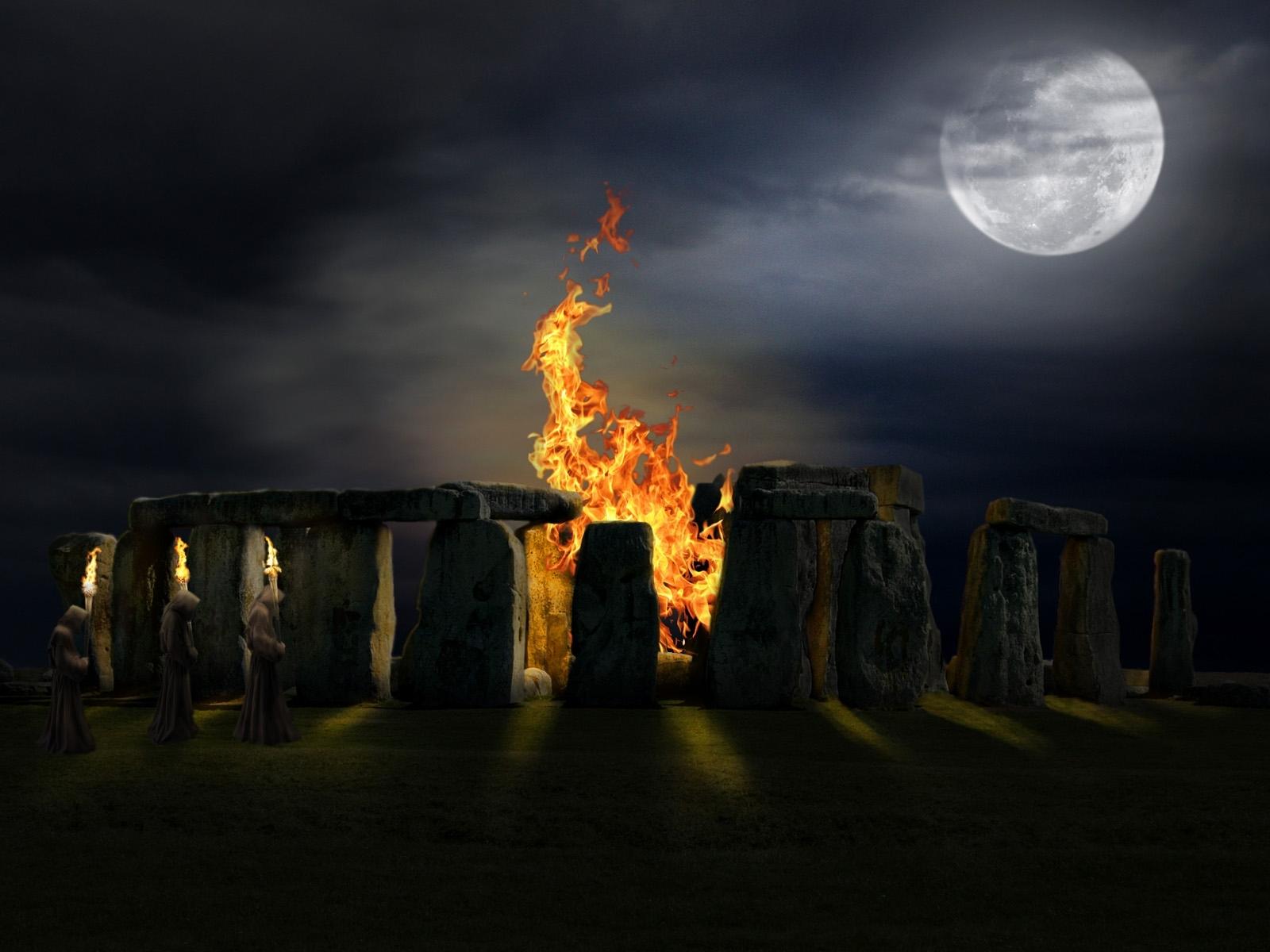 1862 скачать обои Пейзаж, Костер, Луна, Стоунхендж (Stonehenge) - заставки и картинки бесплатно