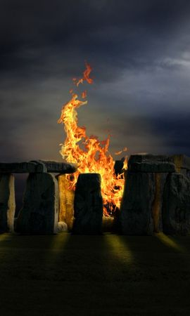 1862 download wallpaper Landscape, Bonfire, Moon, Stonehenge screensavers and pictures for free