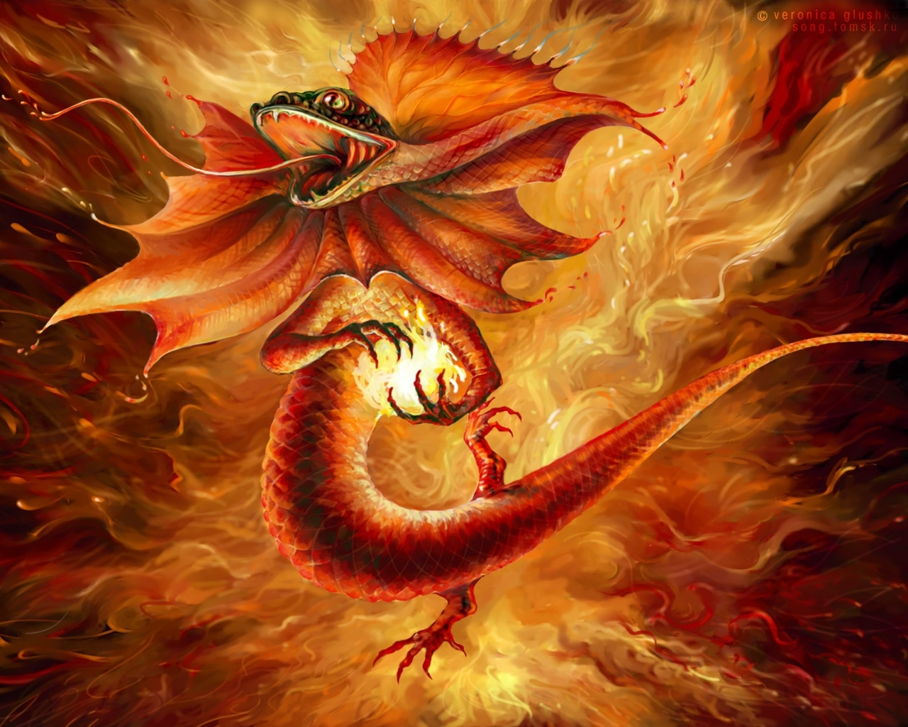 791 download wallpaper Animals, Art, Dragons, Fire screensavers and pictures for free