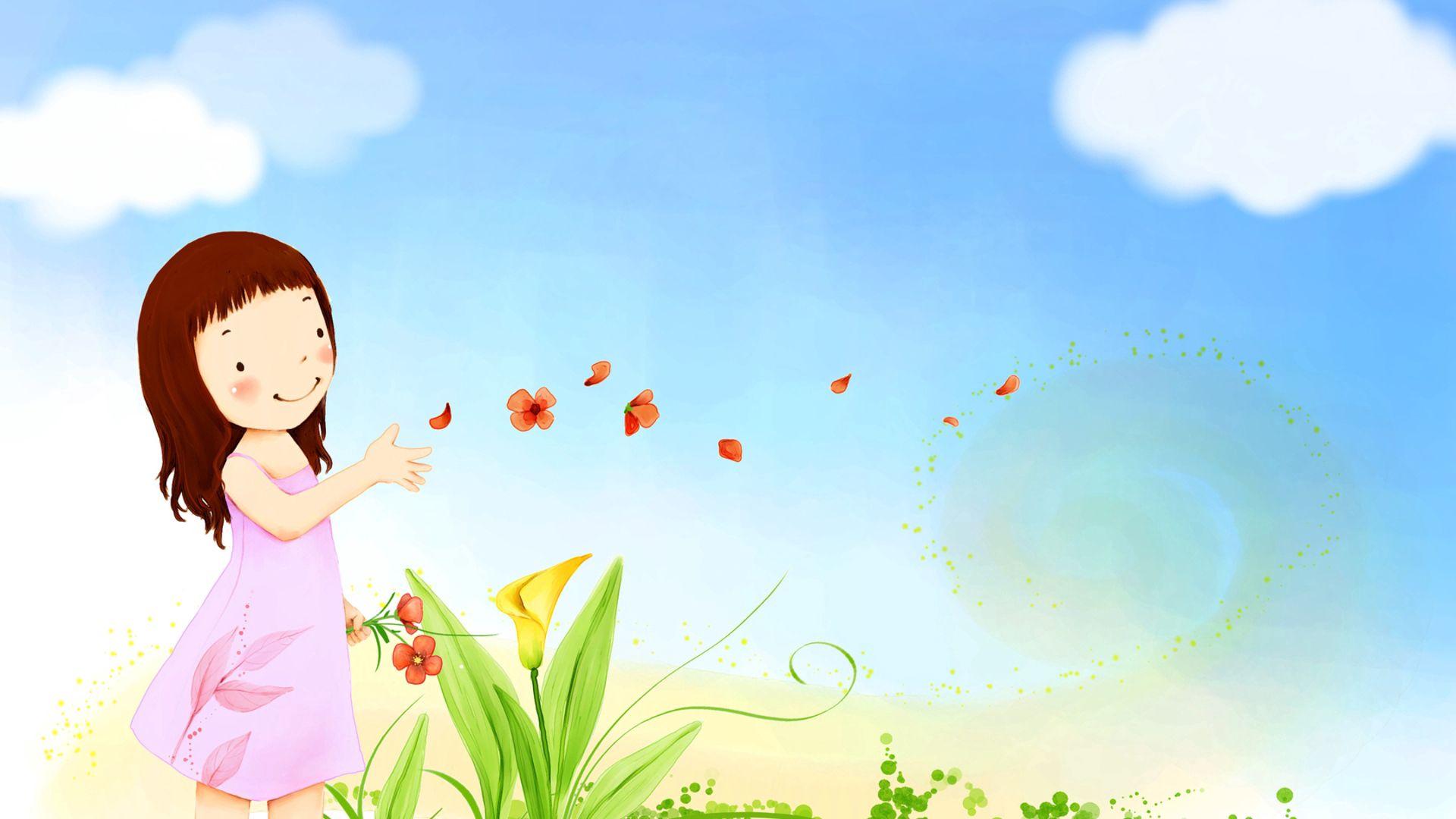 90624 скачать обои Разное, Девочка, Детство, Природа, Цветы - заставки и картинки бесплатно