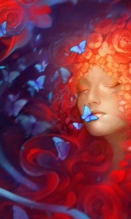 107975 descargar fondo de pantalla Fantasía, Niña, Muchacha, Cara, Dormir, Soñar, Mariposas, Flores: protectores de pantalla e imágenes gratis