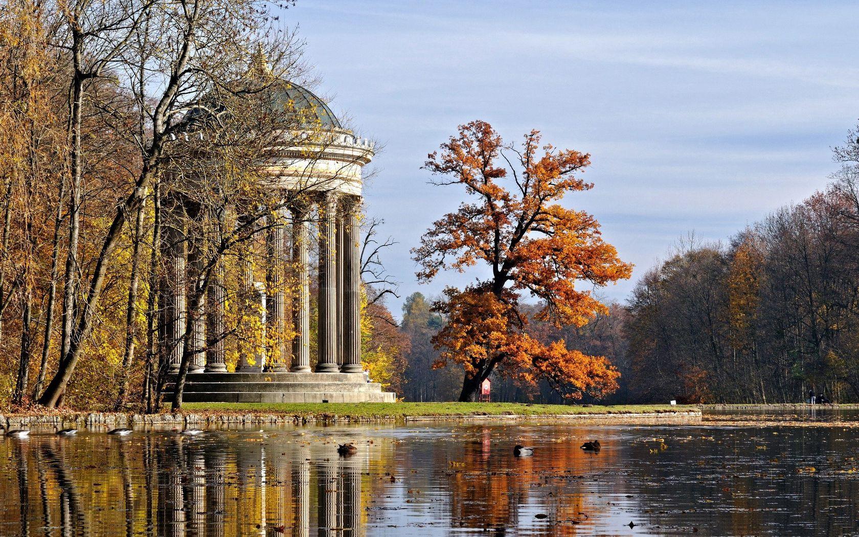 57736壁紙のダウンロード自然, アルコーブ, 亭, 列, コラム, 公園, 秋, 木材, 木, 池-スクリーンセーバーと写真を無料で