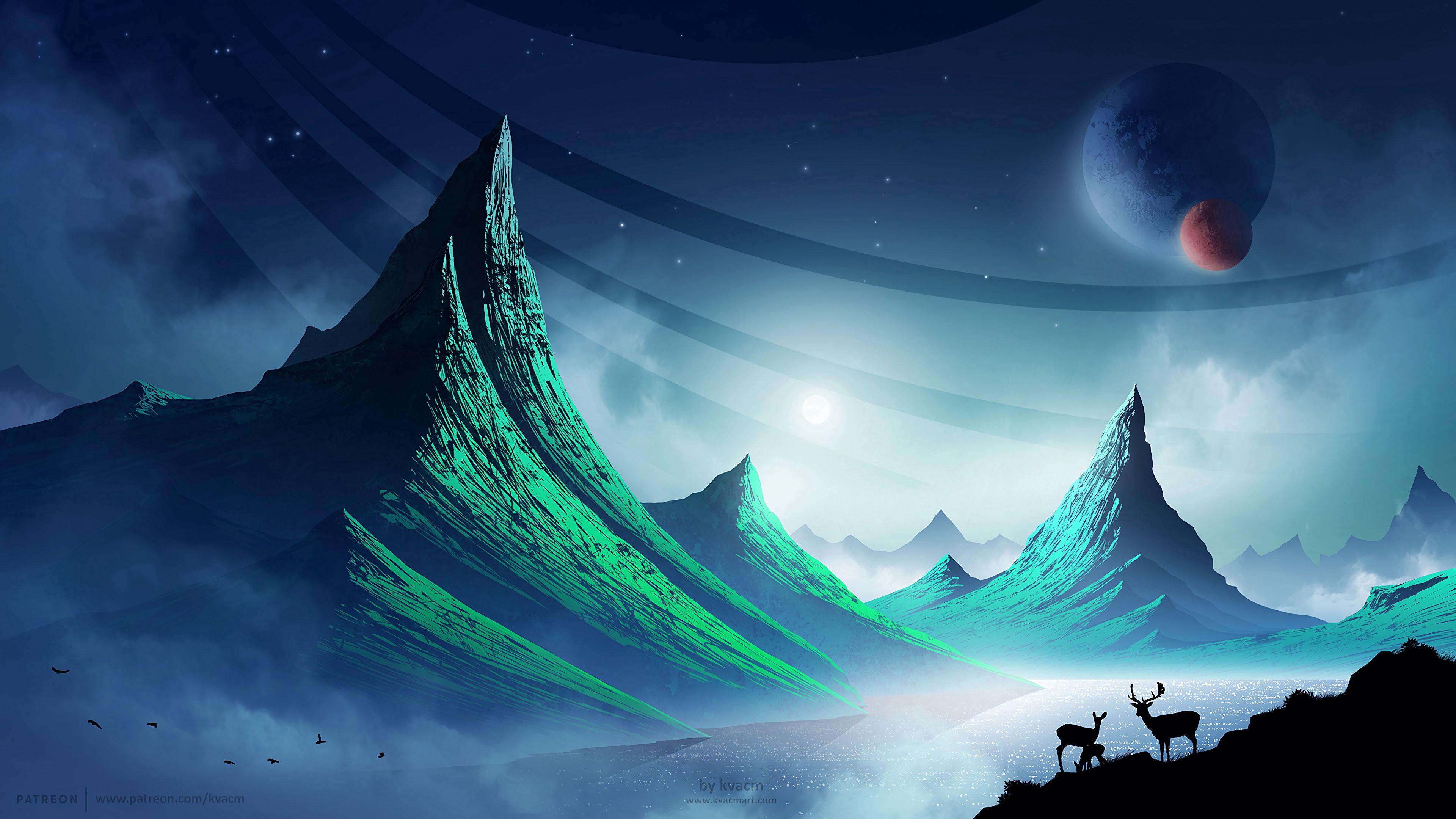 152700 Protetores de tela e papéis de parede Montanhas em seu telefone. Baixe Paisagem, Arte, Montanhas, Noite, Veados, Espaço, Cósmico fotos gratuitamente